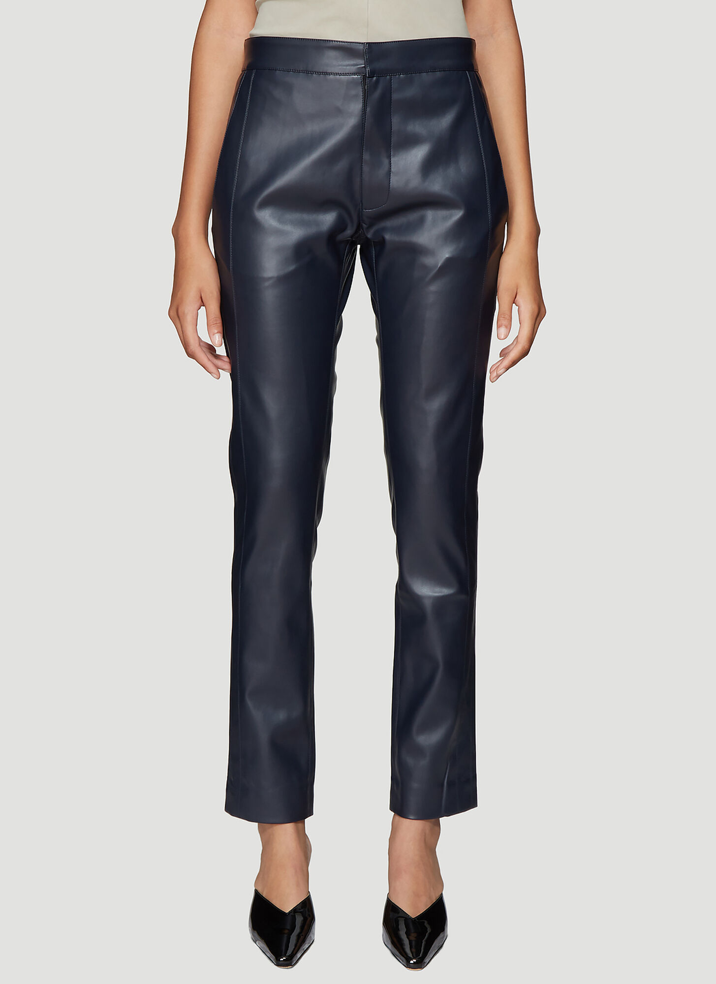 Roni Ilan Faux Leather Pants in Navy