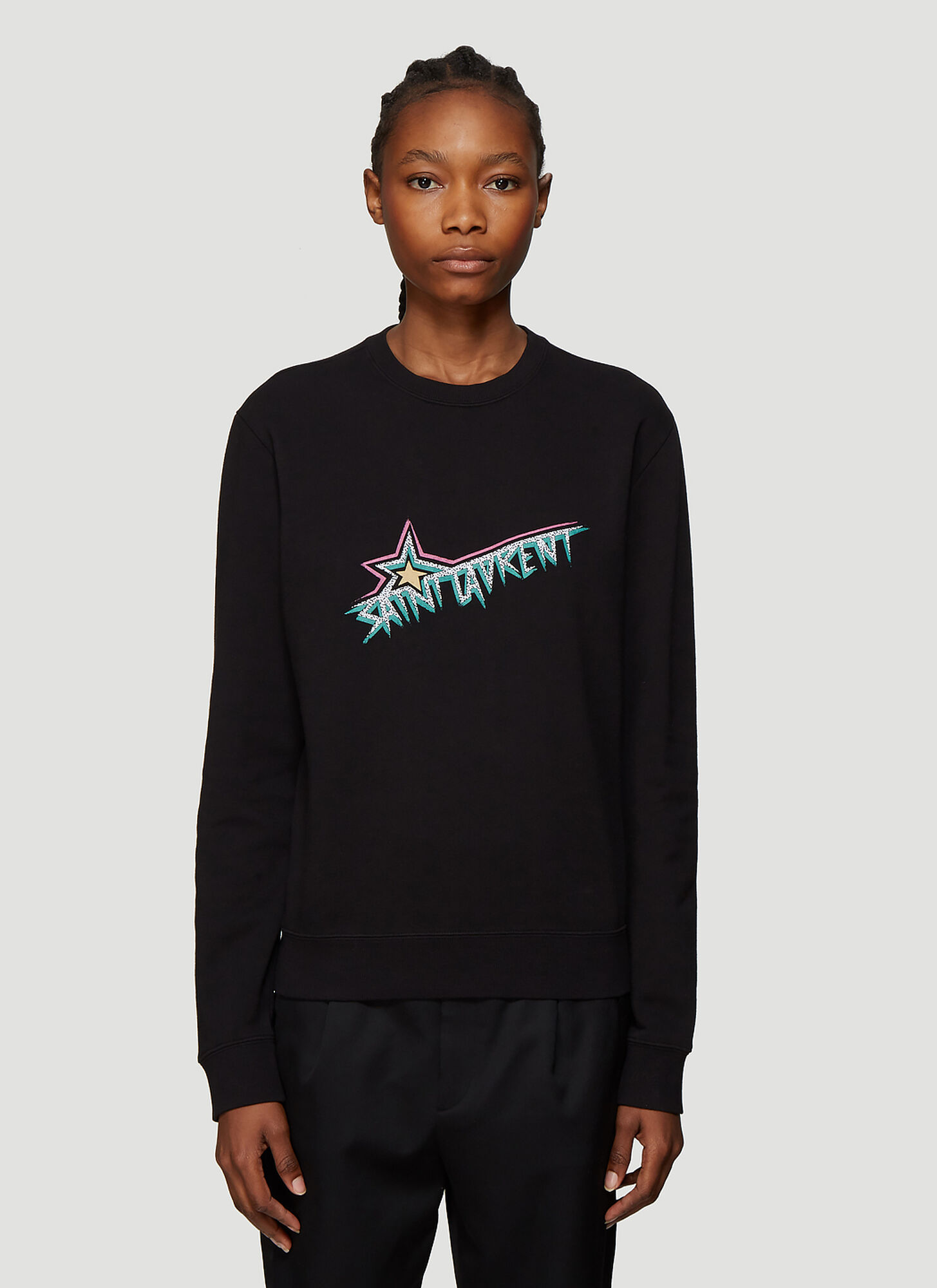 Saint Laurent Logo Sweatshirt in Black