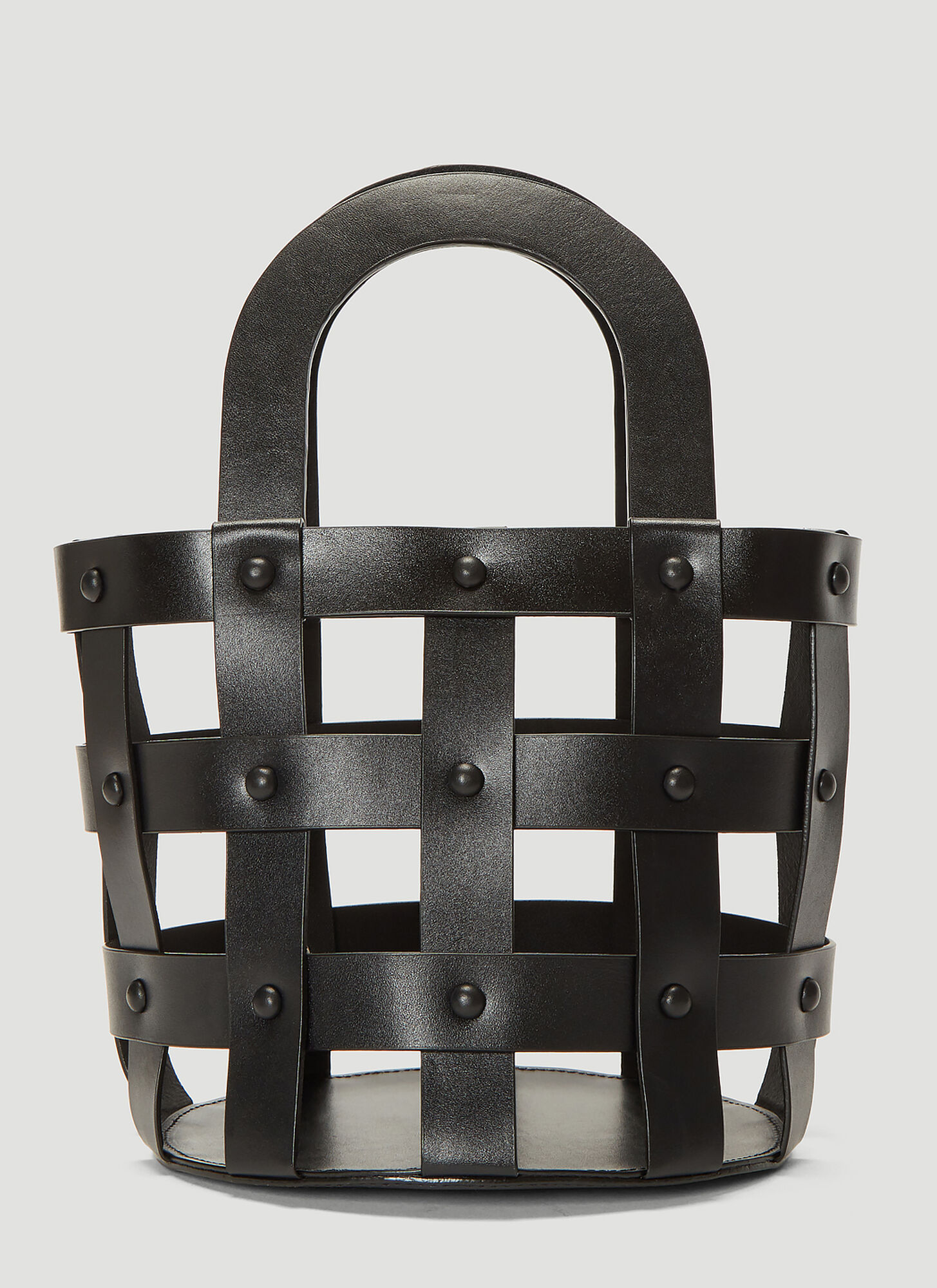 Building Block Small Woven Basket Bag in Black