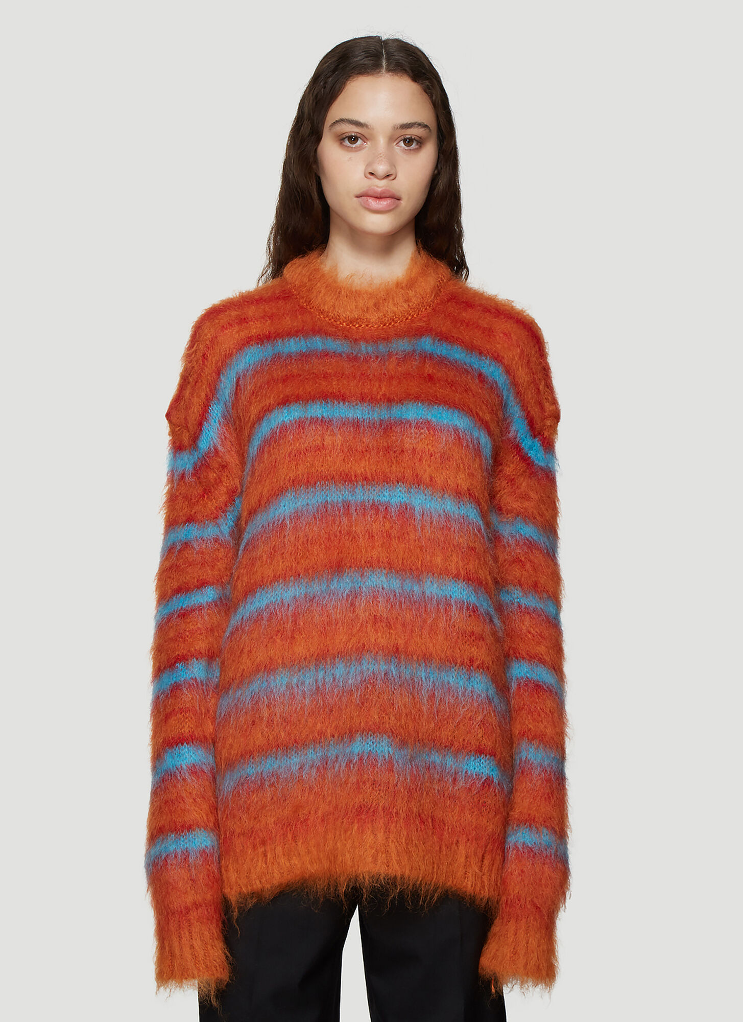 Marni Brushed Knit Striped Sweater in Orange