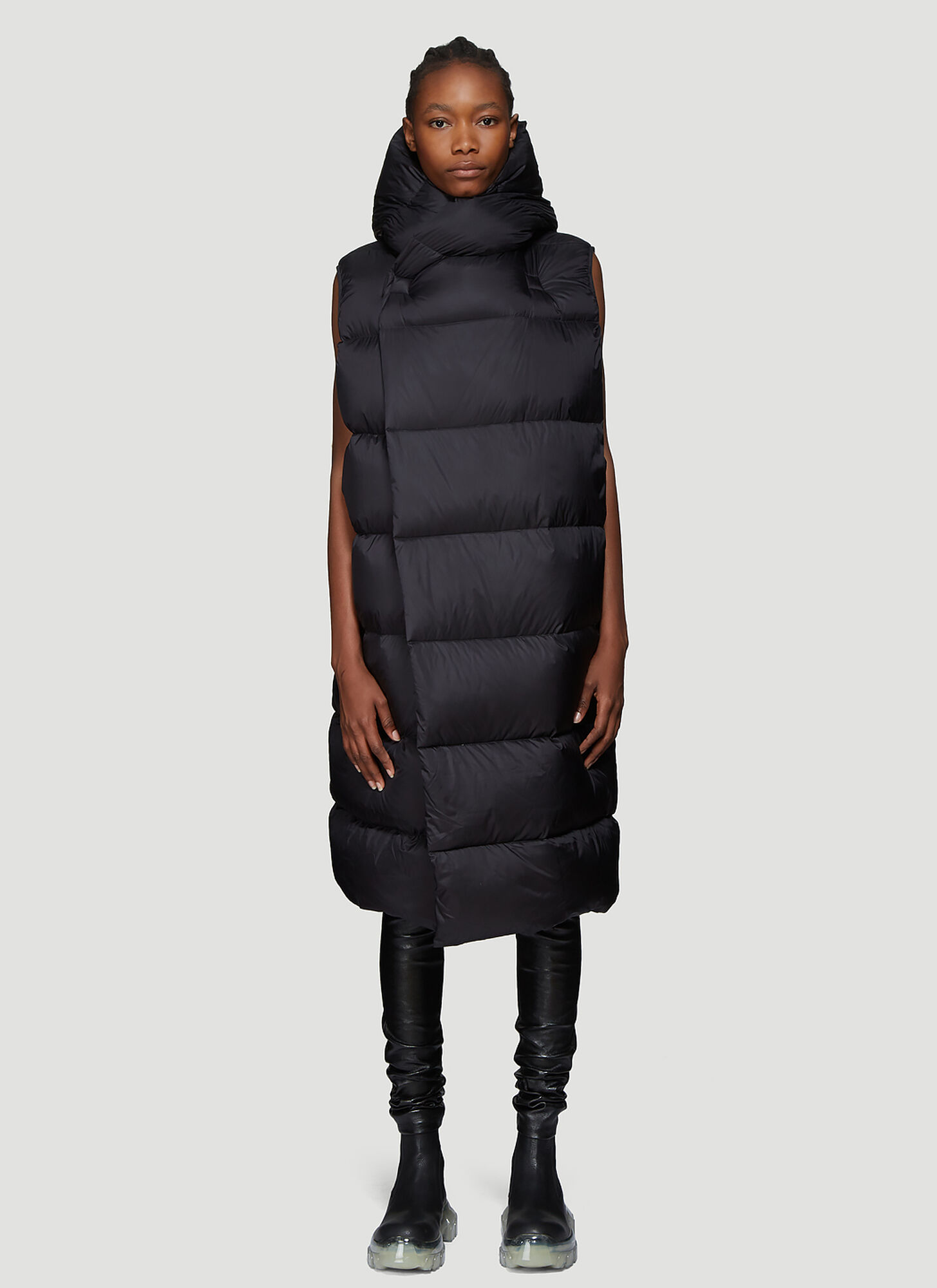 Rick Owens Down Liner Coat in Black