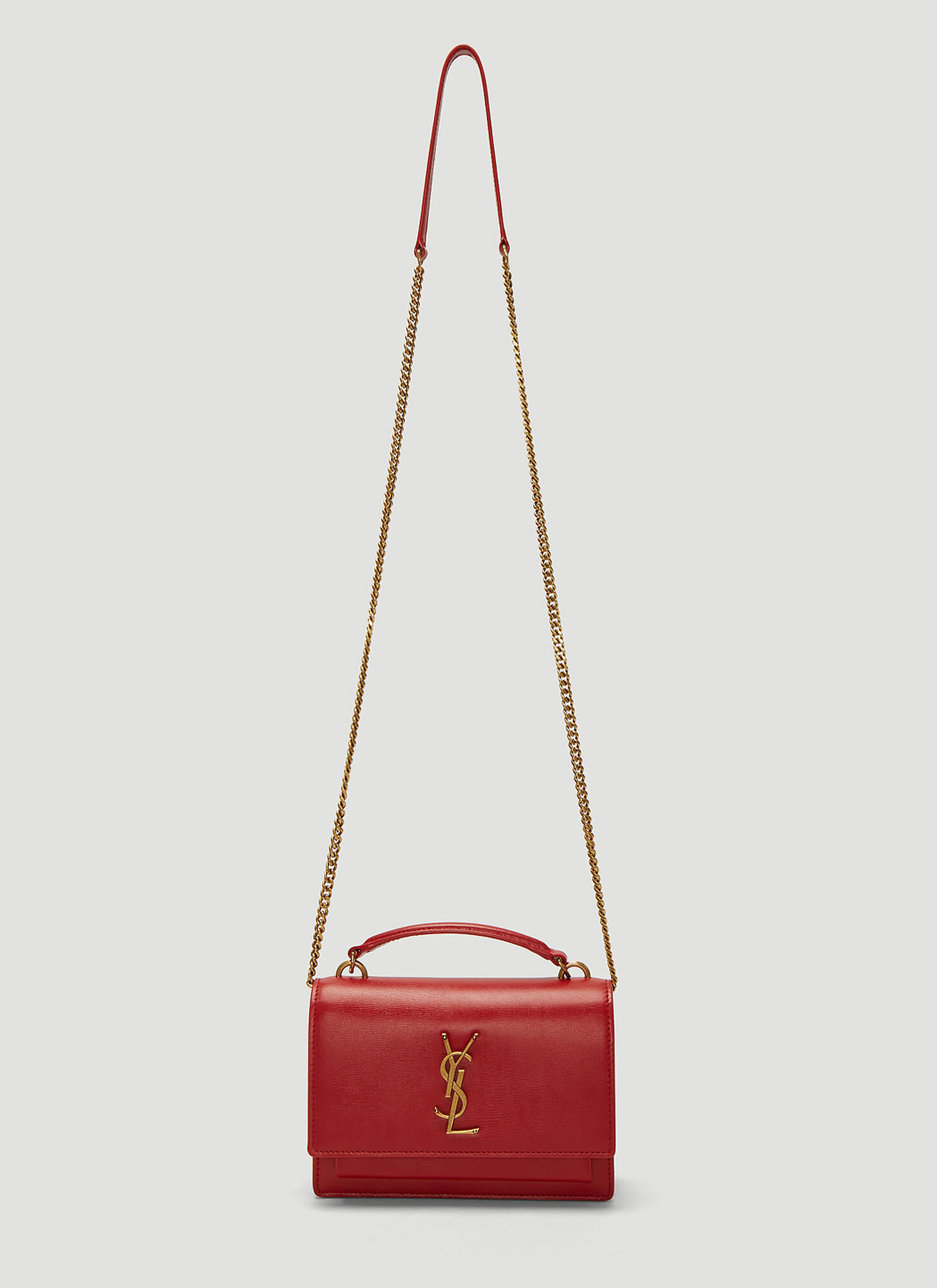 Saint Laurent Sunset Monogram Chain Bag in Red