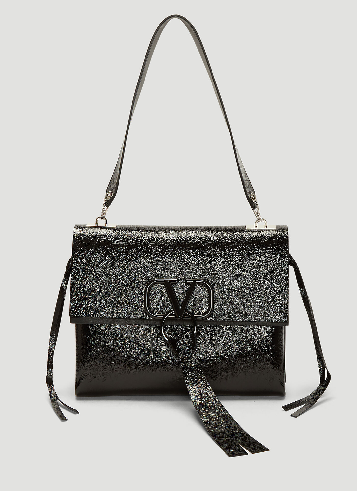 Valentino Logo Clasp Medium Shoulder Bag in Black