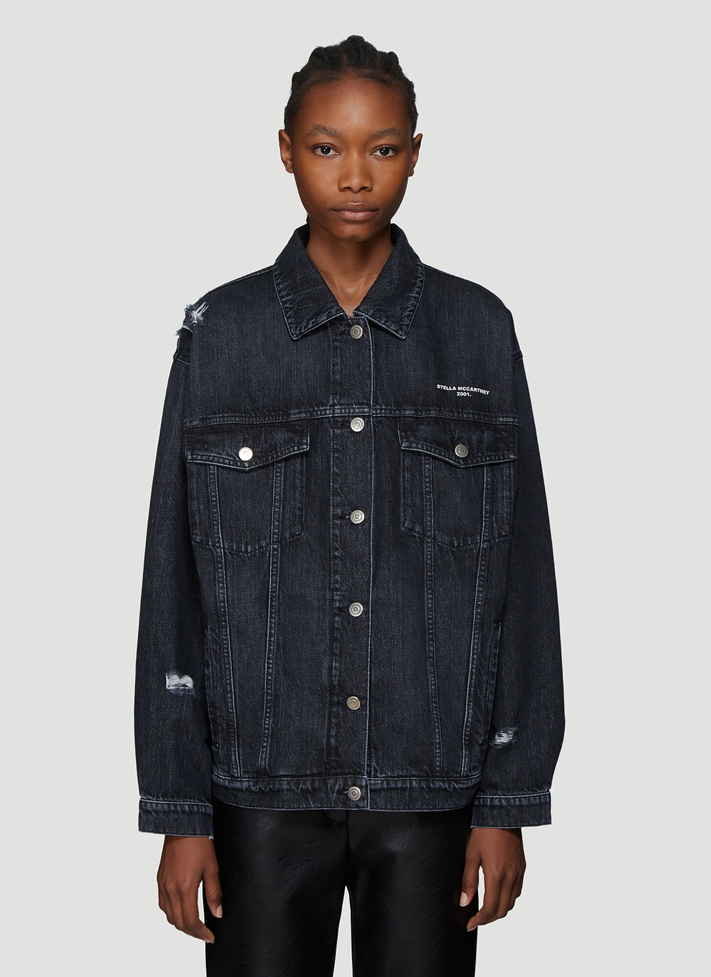Photo of Stella McCartney Distressed Denim Jacket in Blue - Stella McCartney Jackets