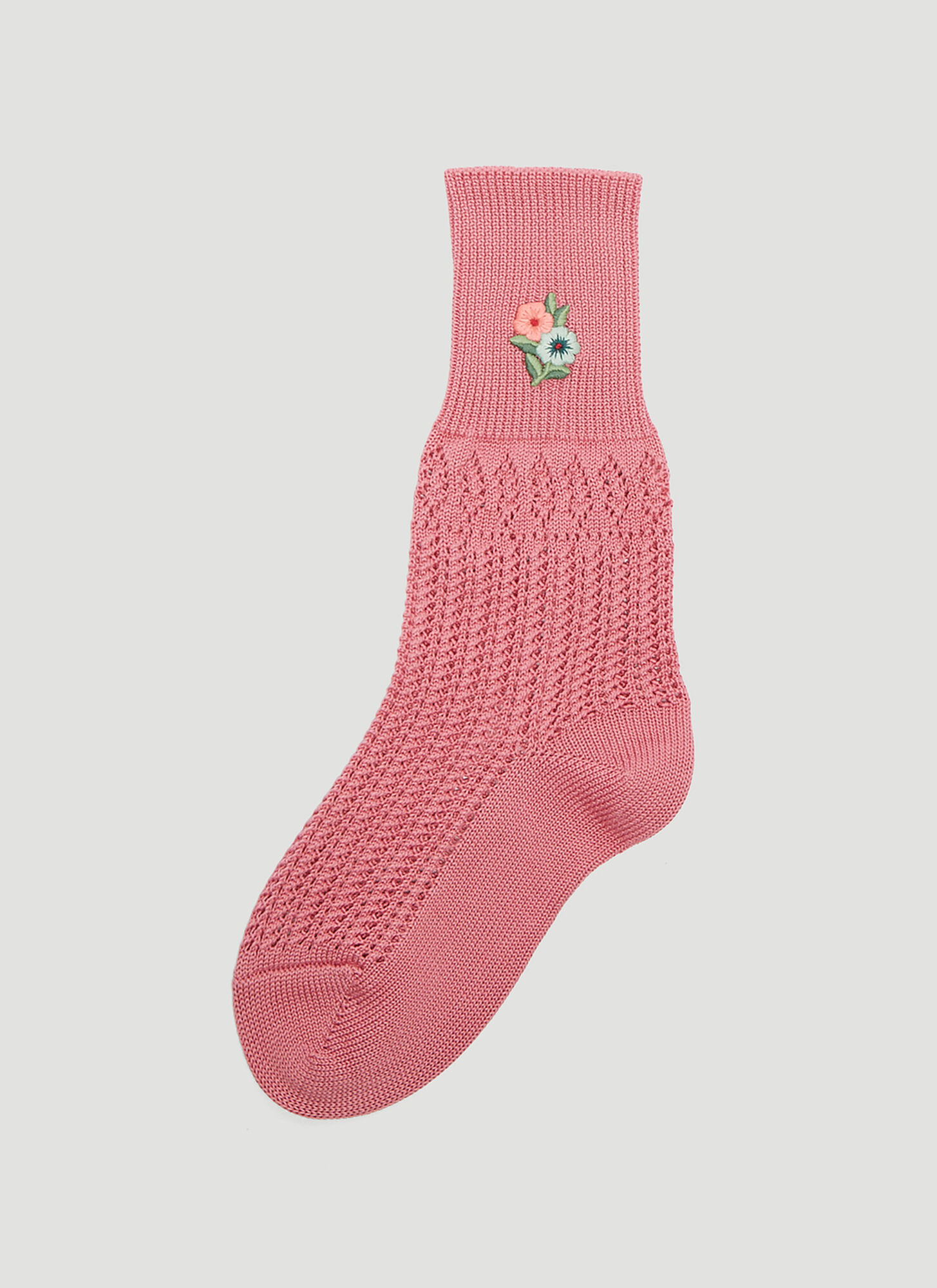 Gucci Floral Embroidered Crochet Socks in Pink