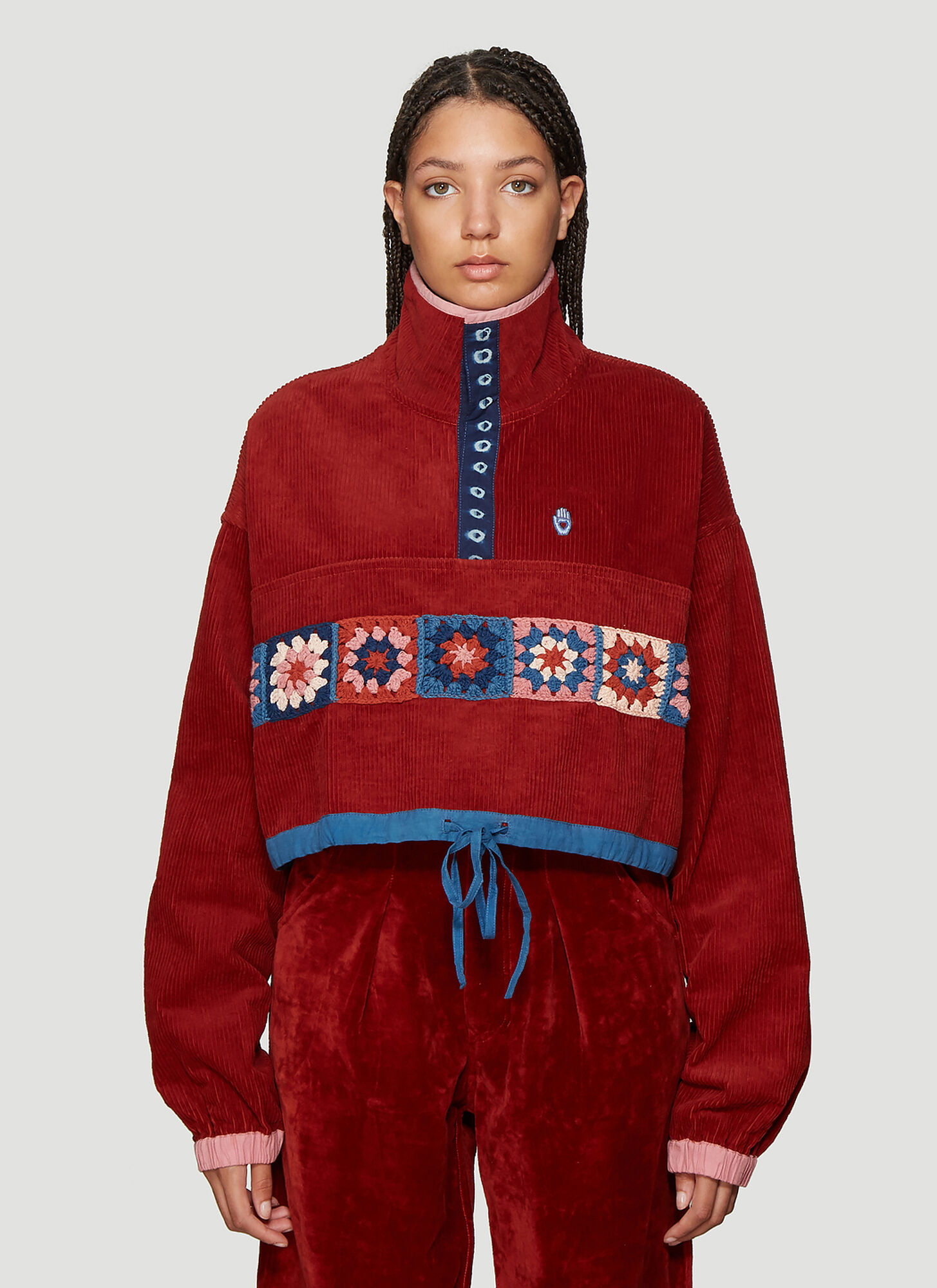 STORY mfg. Cord Cropped Pullover Jacket in Red