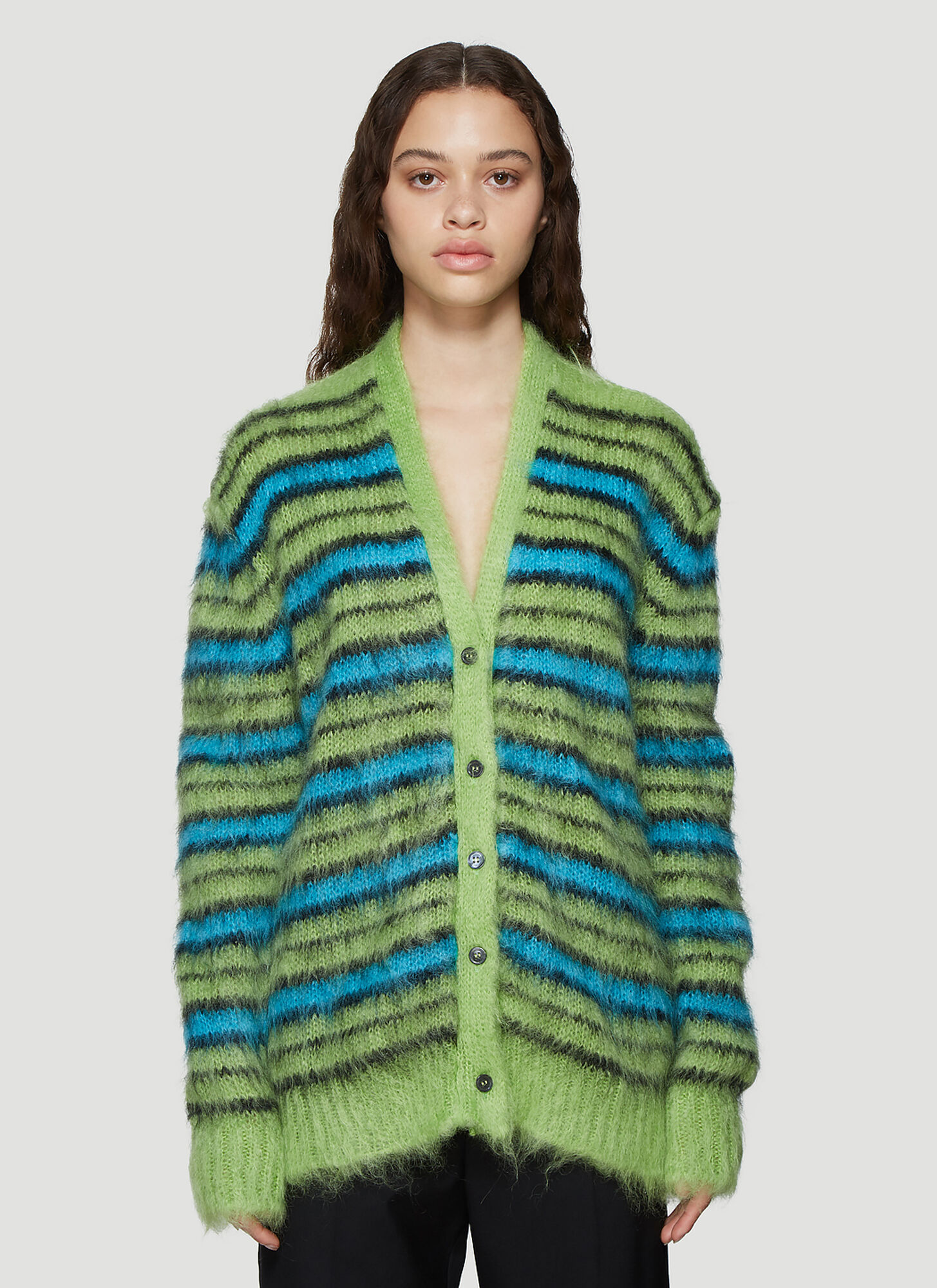 Marni Brushed Knit Striped Cardigan in Green