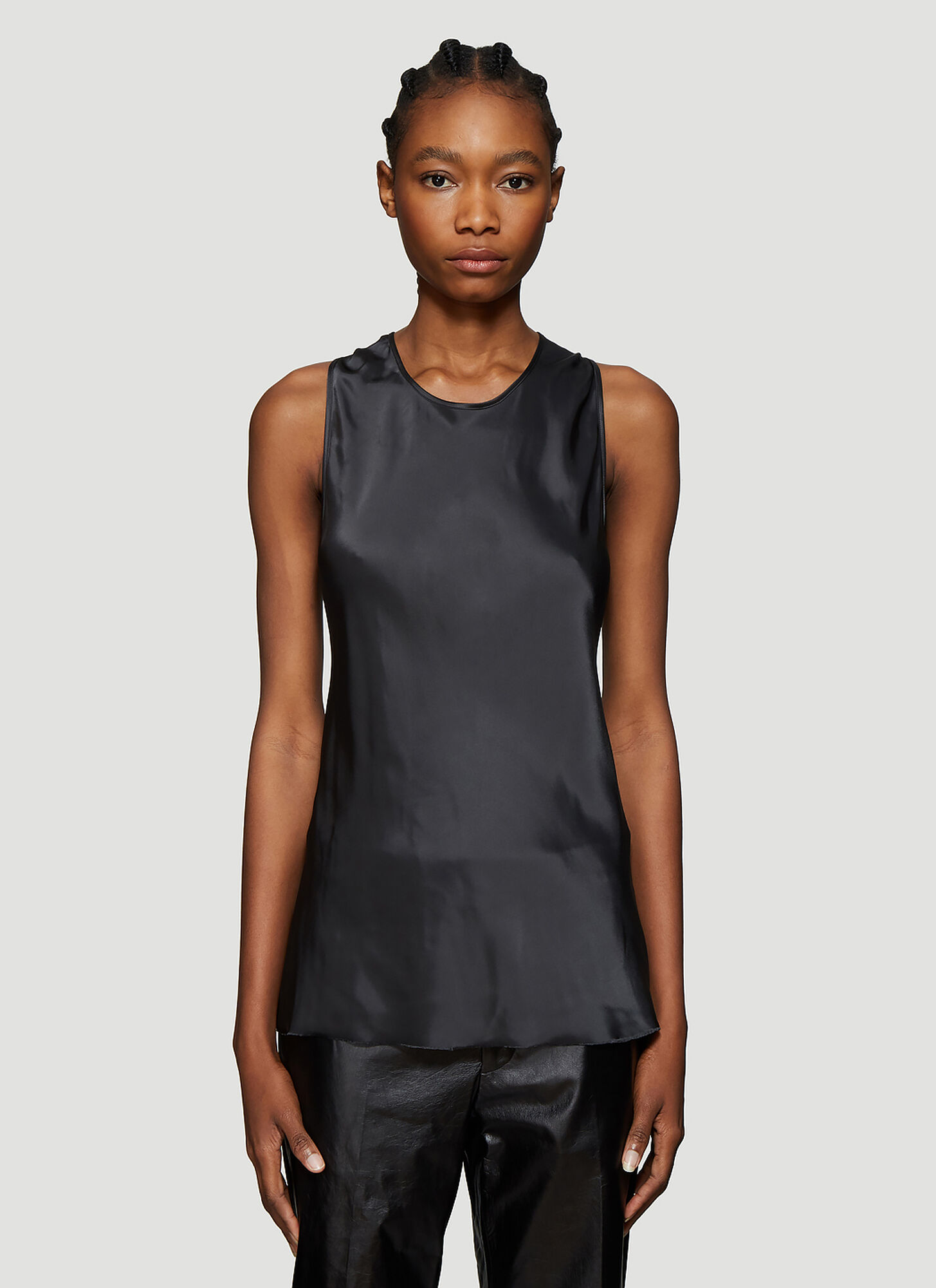 Helmut Lang Twist Detail Satin Top in Black
