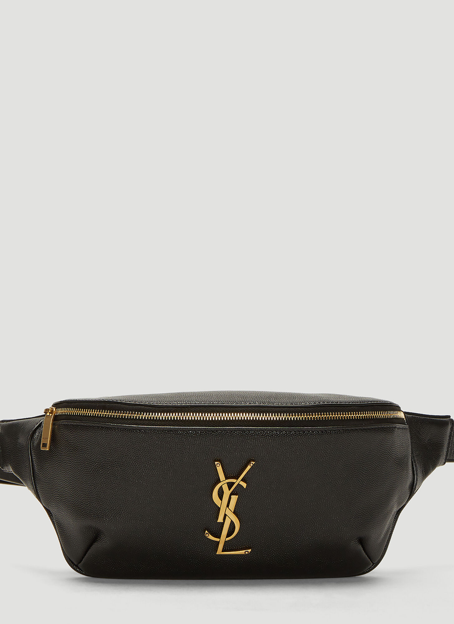 Saint Laurent Leather Monogram Belt Bag in Black