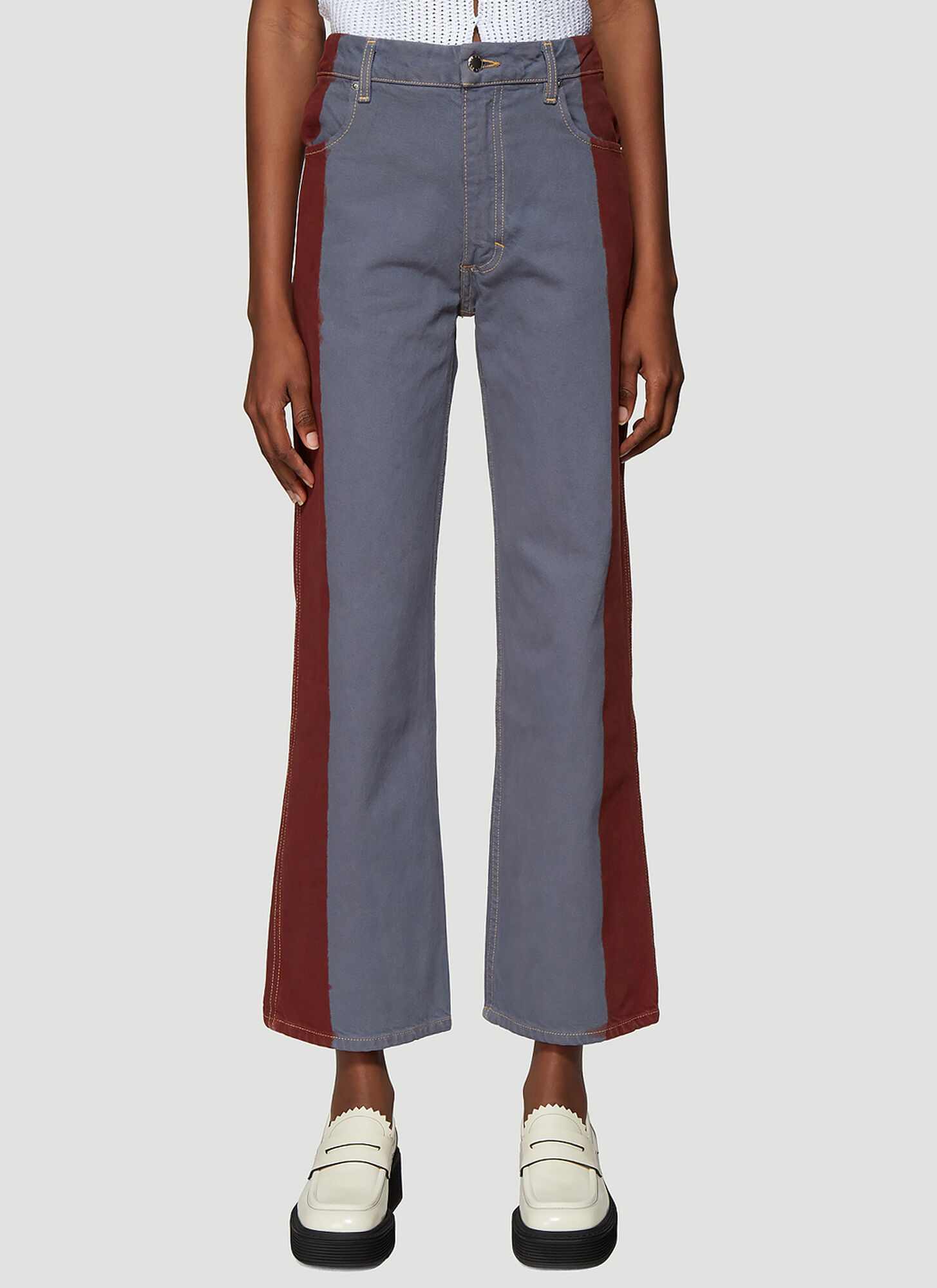 Eckhaus Latta Dip Dye Wide Leg Jeans in Blue
