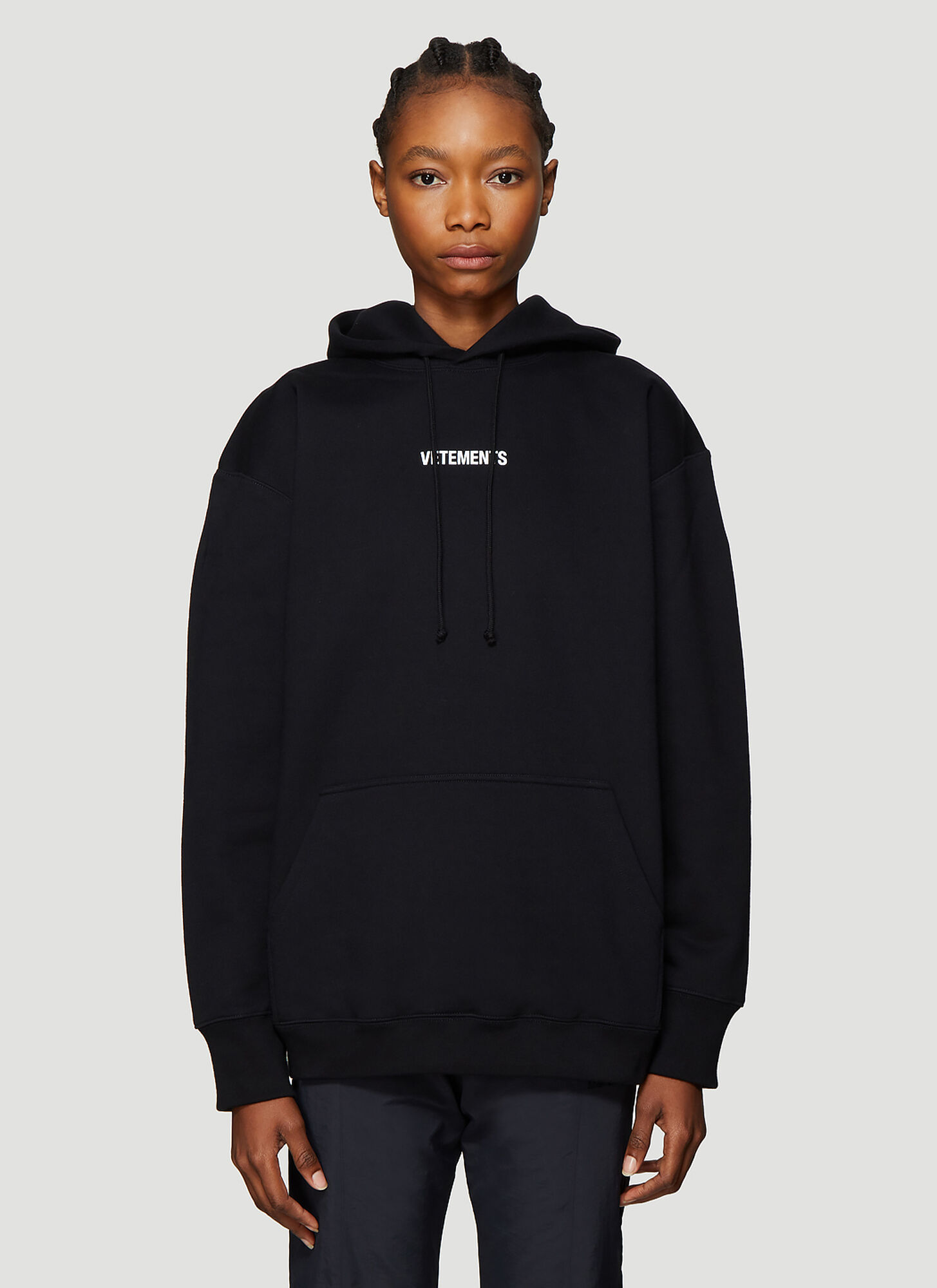 Vetements Logo Print Hooded Sweatshirt in Black