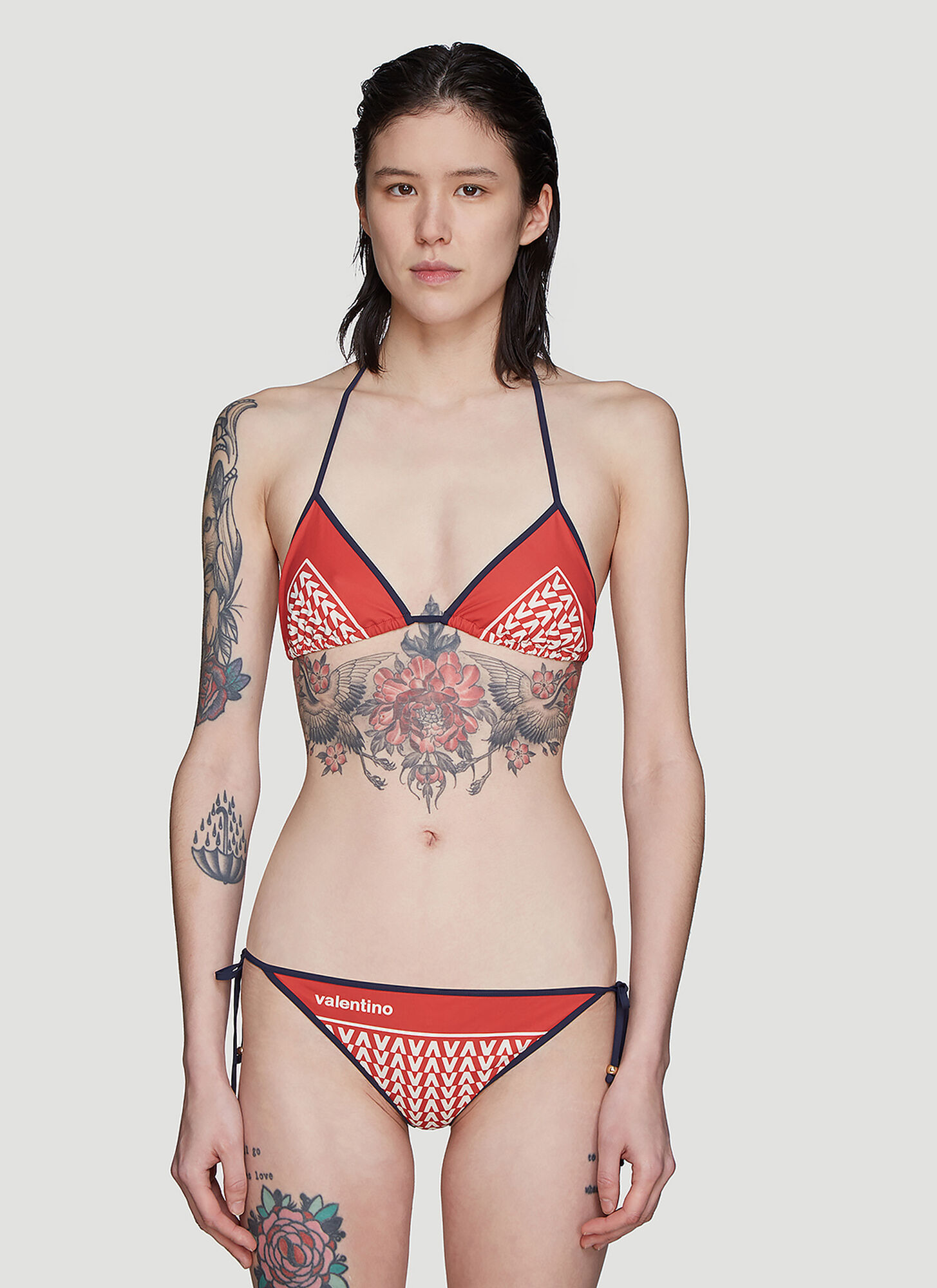 Valentino V Print Bikini in Red