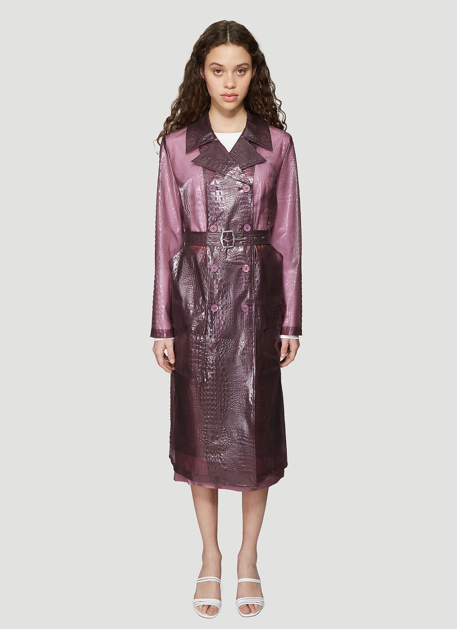 Sies Marjan Nisa Embossed Plastic Trench Coat in Purple