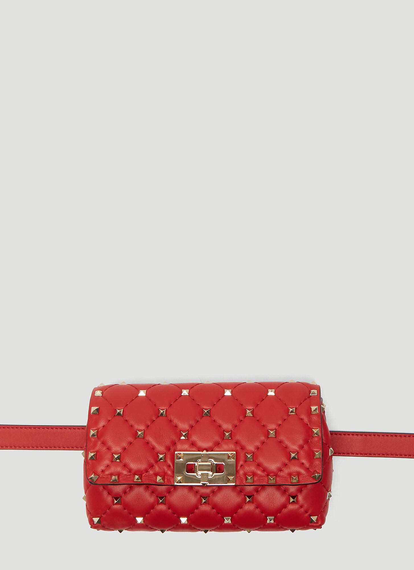 Valentino Rockstud Leather Belt Bag in Red
