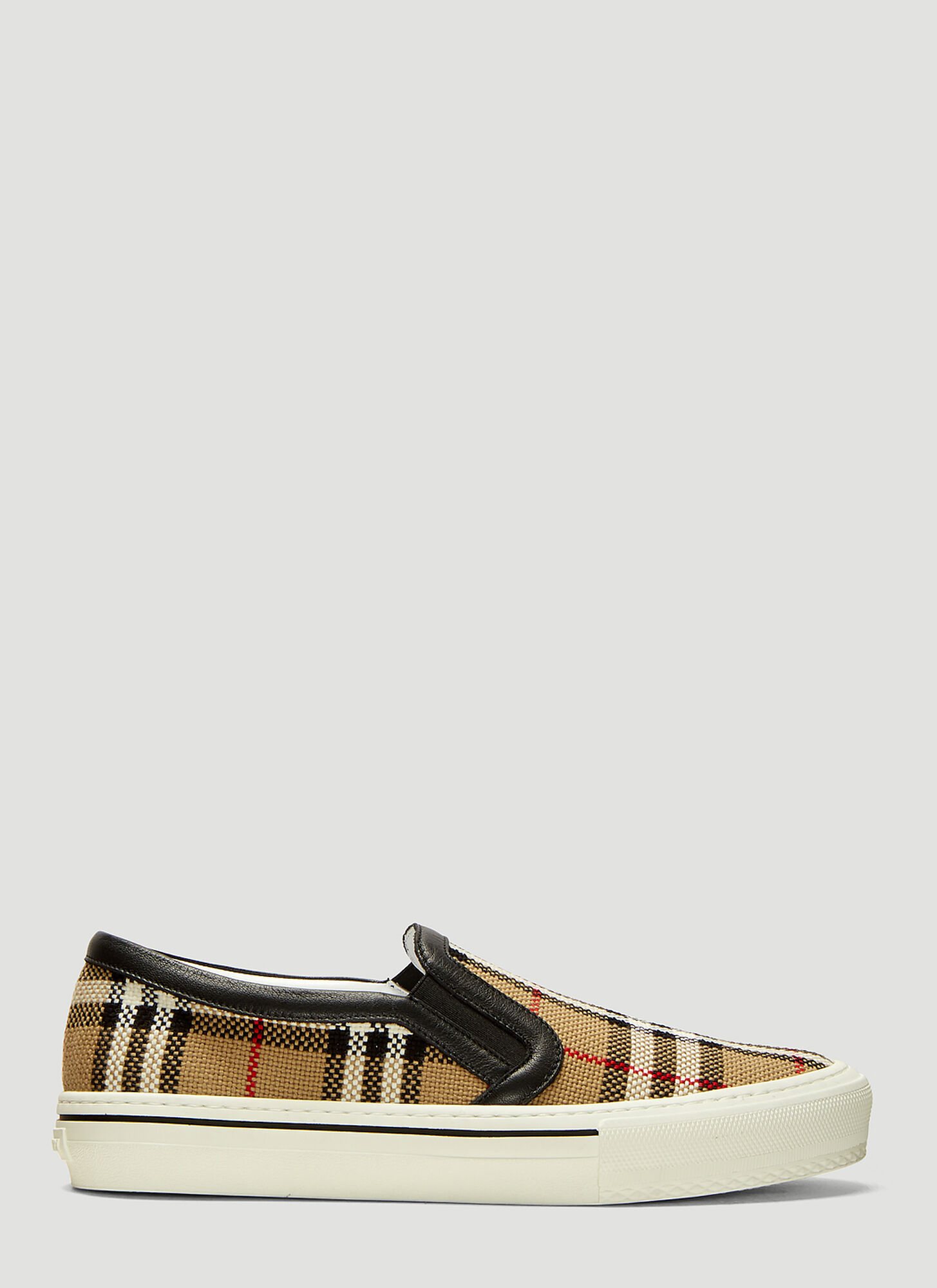 Burberry Vintage Check Woven Slip On Sneakers in Beige