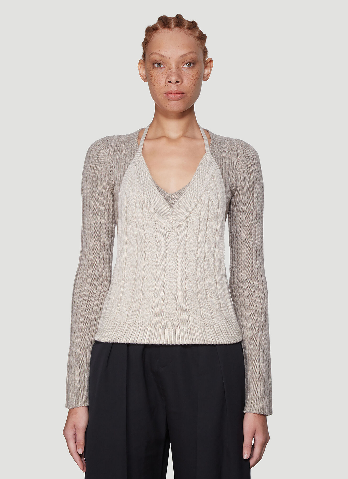 Jacquemus La Double Maille Knit Sweater in Grey