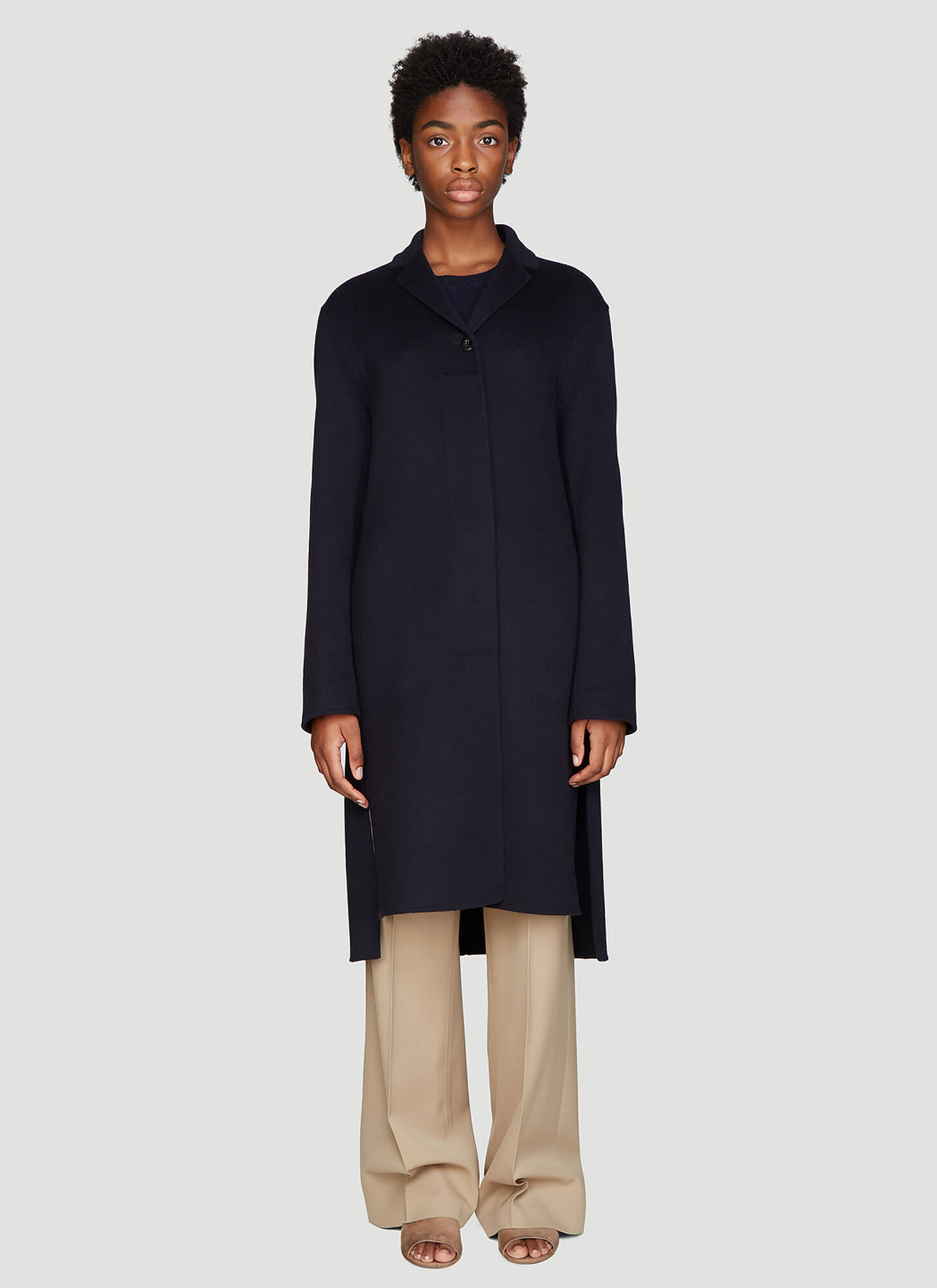 Jil Sander Cashmere Coat in Navy