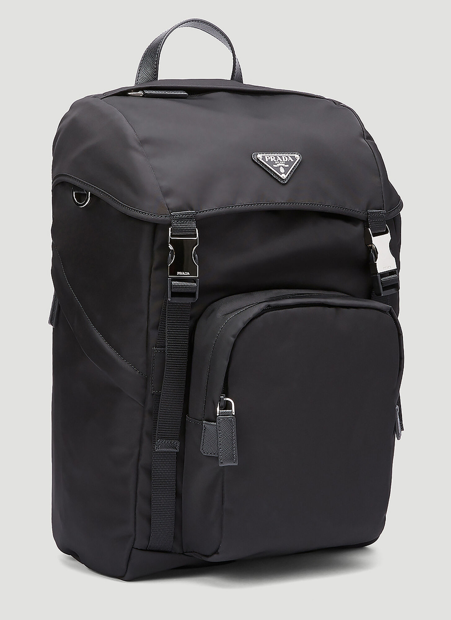 Prada Nylon and Saffiano Leather Backpack in black