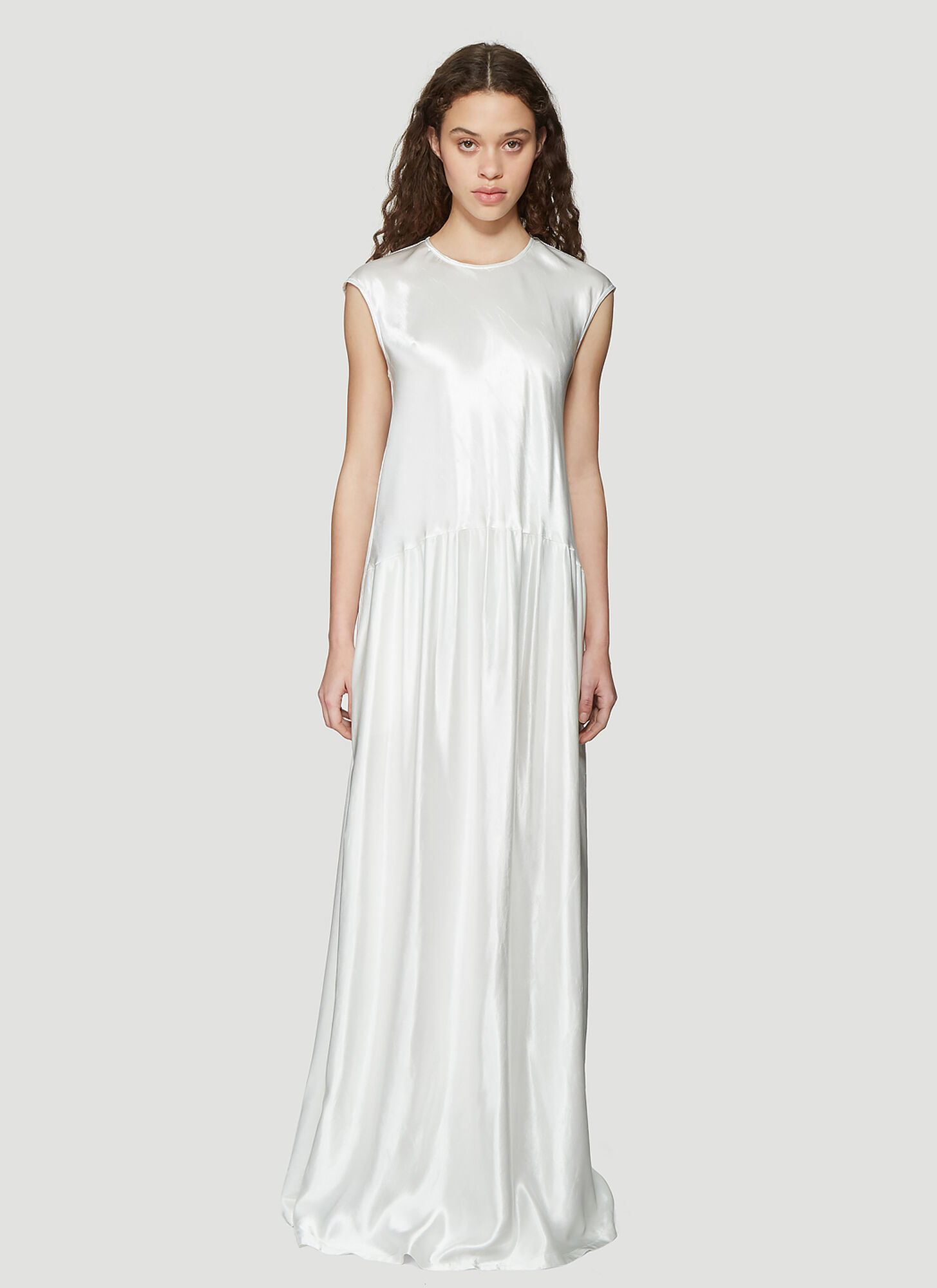 Photo of Sies Marjan Washed Satin Sleeveless Full length Dress in White - Sies Marjan Dresses