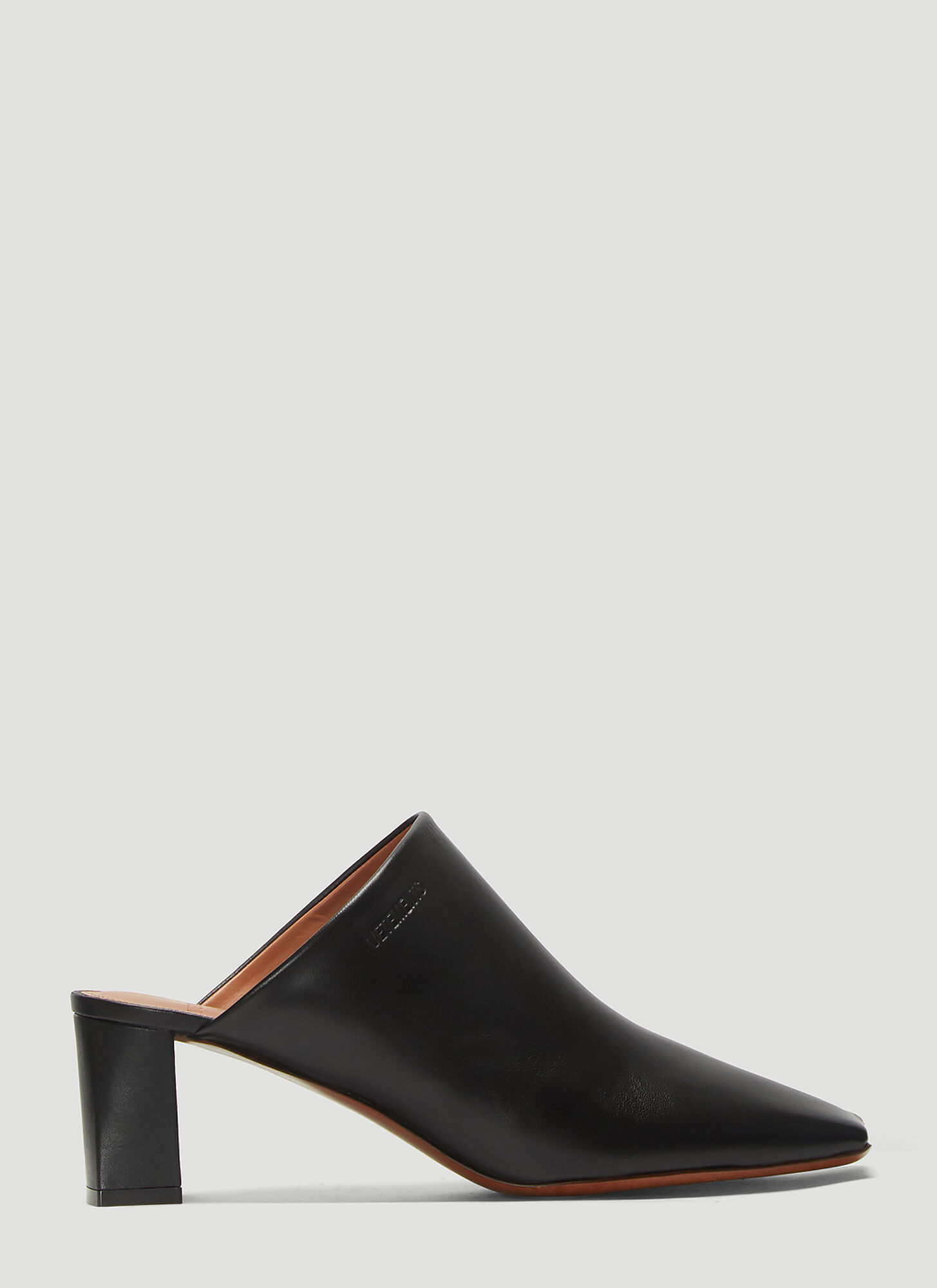 Vetements Boomerang Leather Mules in Black