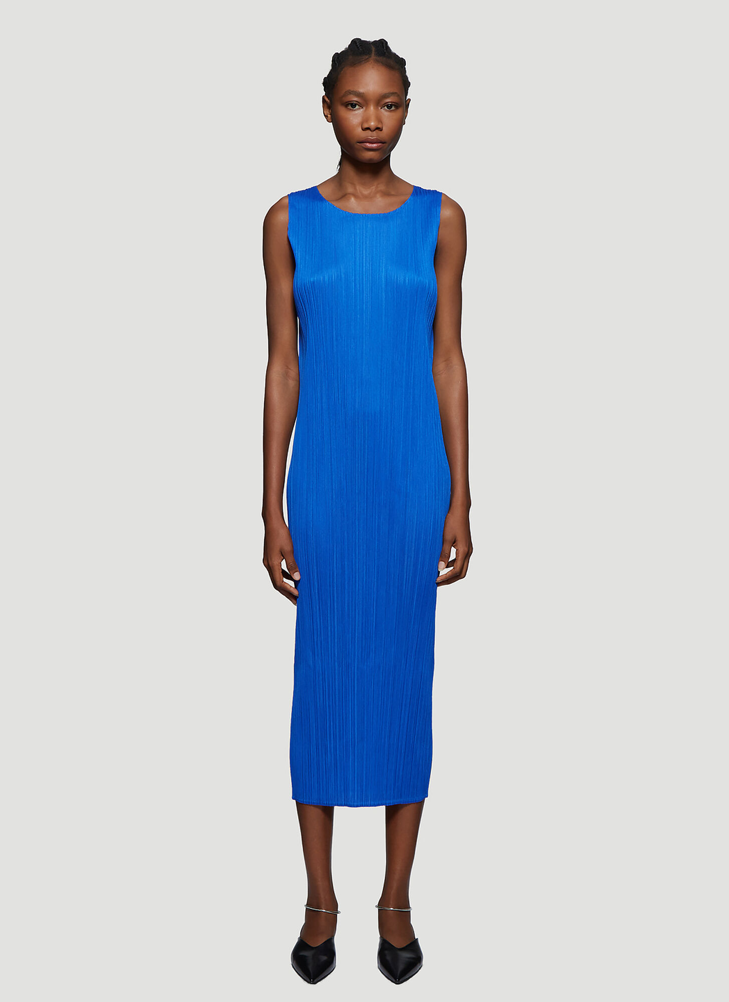 Pleats Please Issey Miyake Basic Pleated Sleeveless Dress in Blue