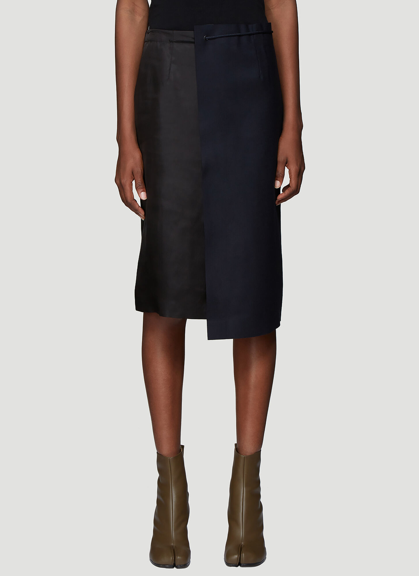 Maison Margiela Contrast Panel Drawstring Skirt in Navy