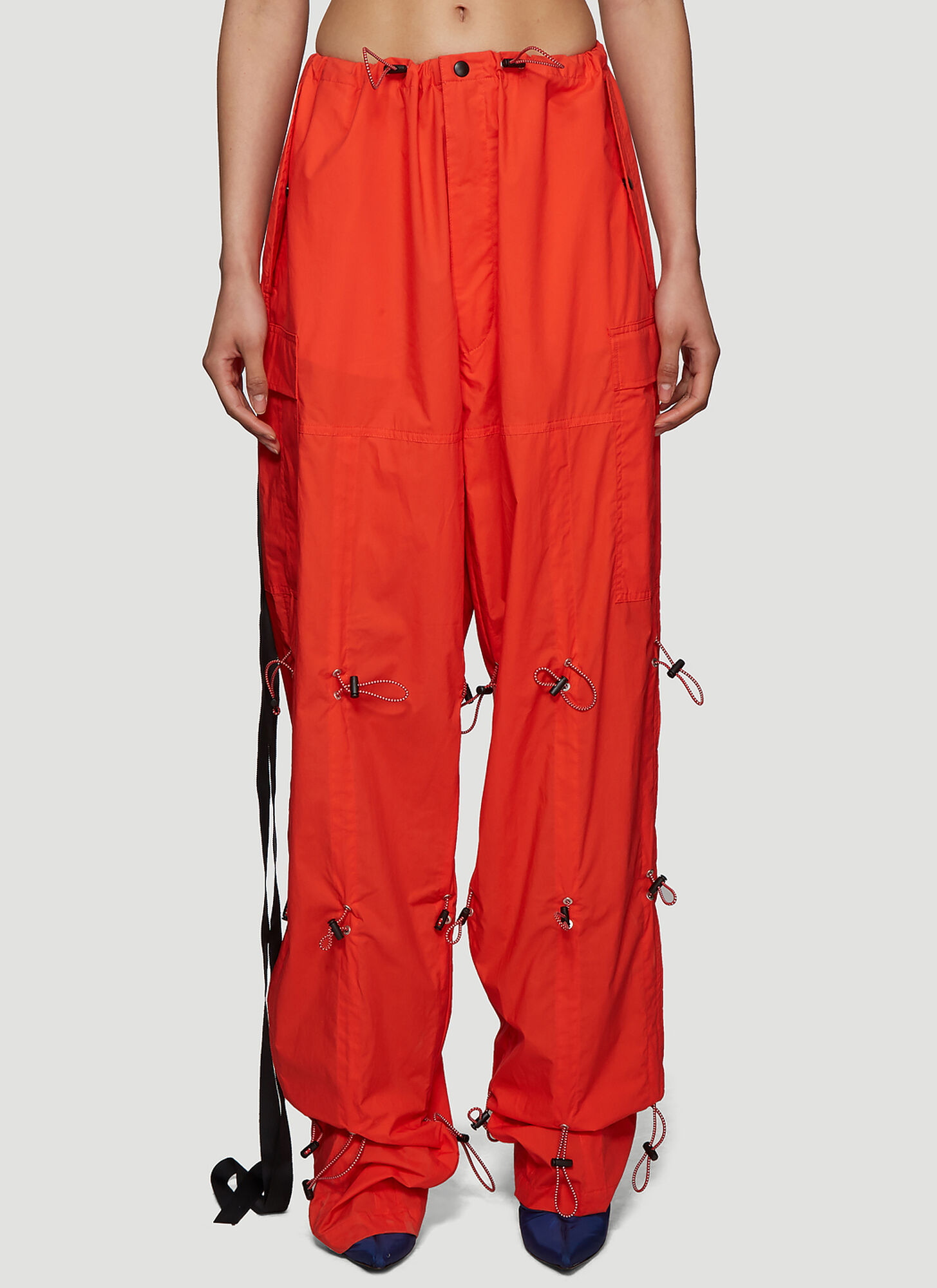 Photo of Unravel Project Hybrid Drawstring Pants in Red - Unravel Project Pants