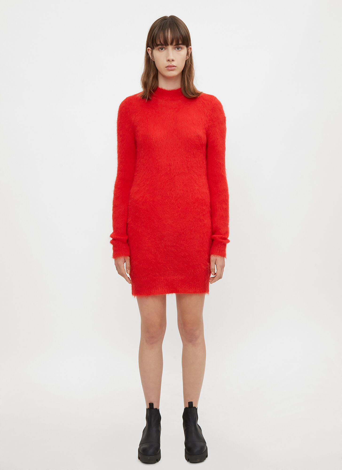 1017 ALYX 9SM Stevie Mohair Knit Dress in Red size XS