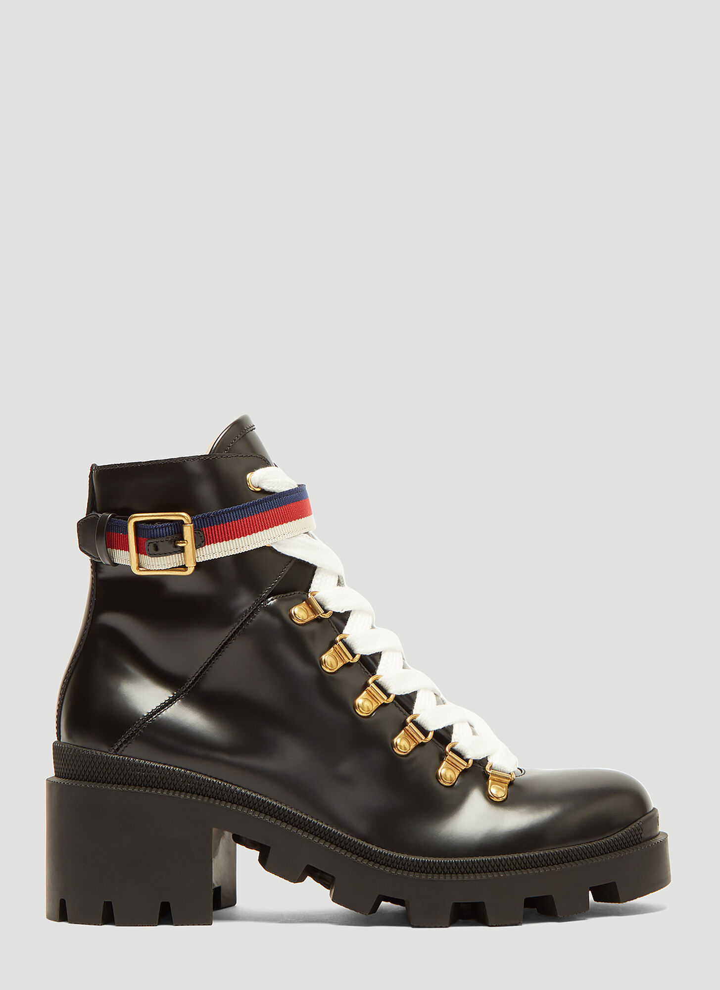 Gucci Trecking Heeled Ankle Boot in Black