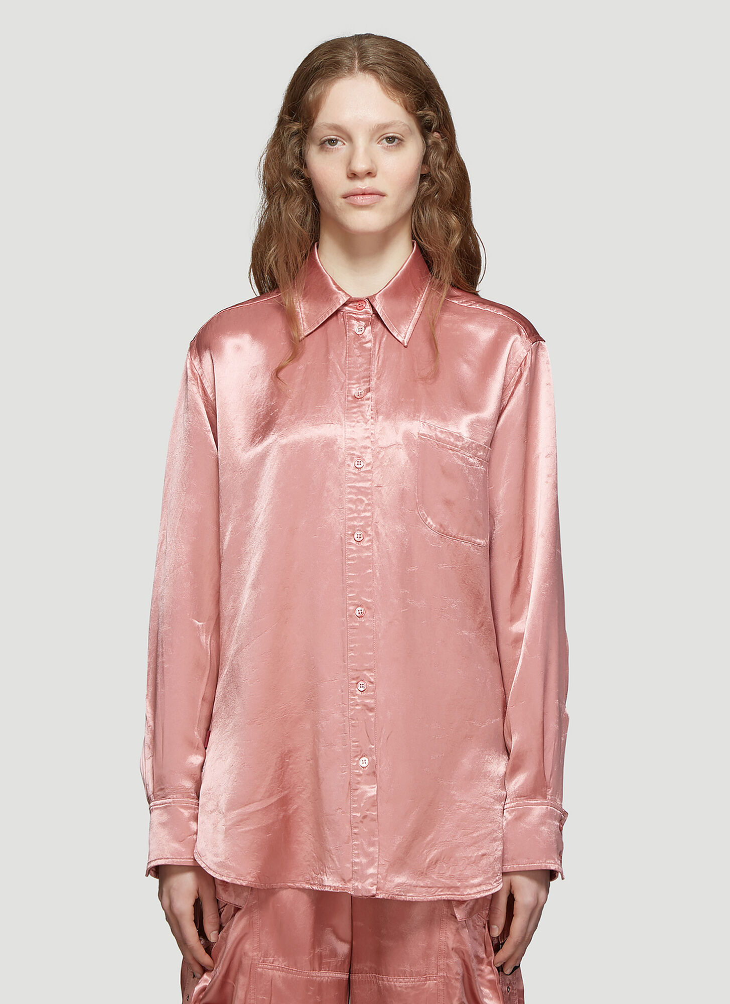 Sies Marjan Sander Washed Satin Shirt in Pink