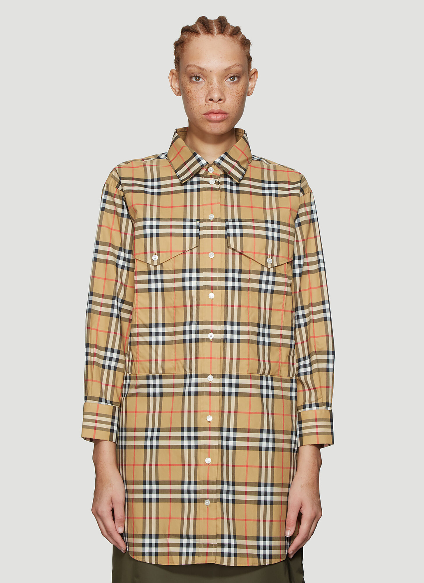 Burberry Long Check Shirt in Beige