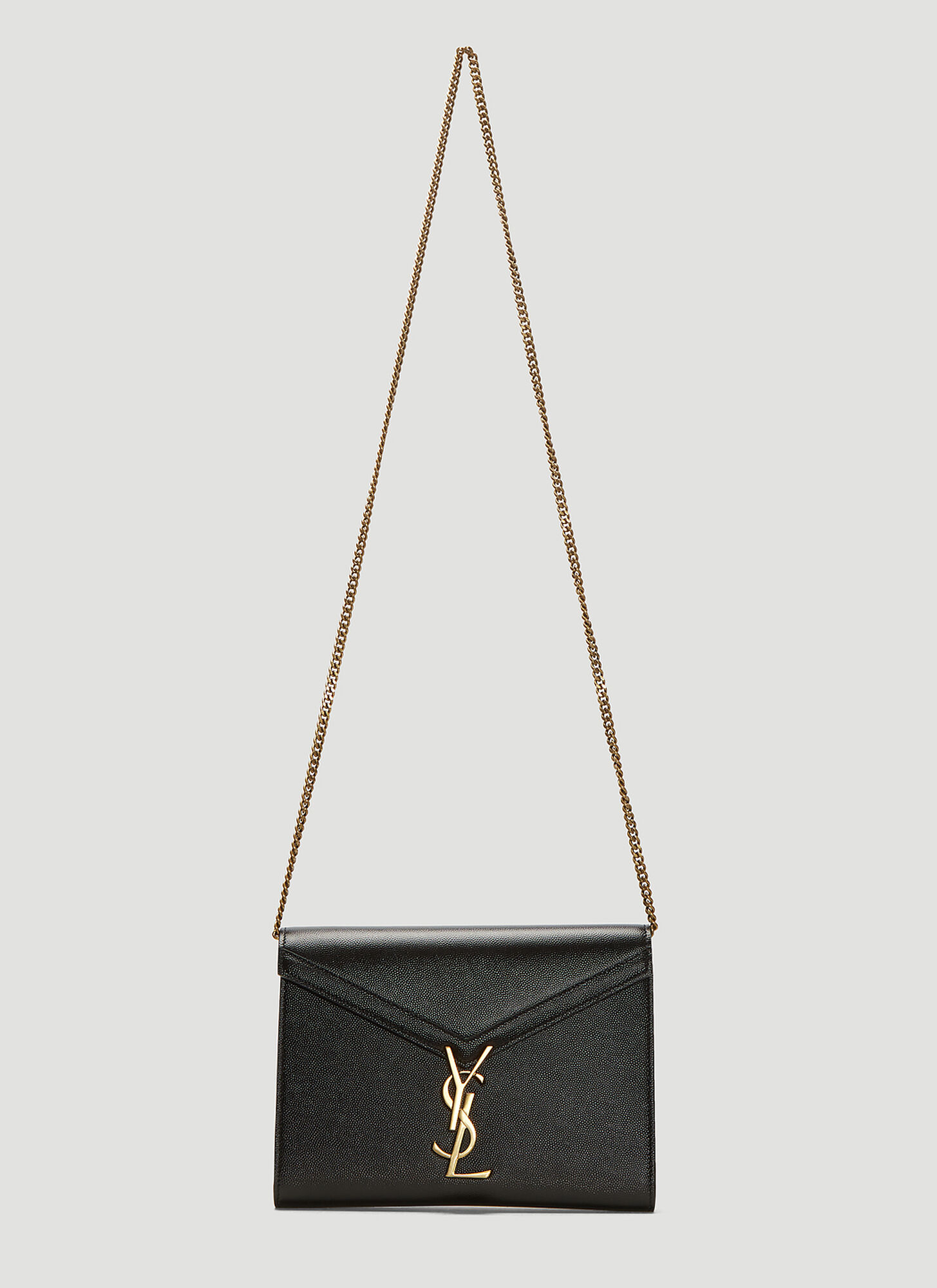 Saint Laurent Cassandra Grain de Poudre Chain Wallet Bag in Black