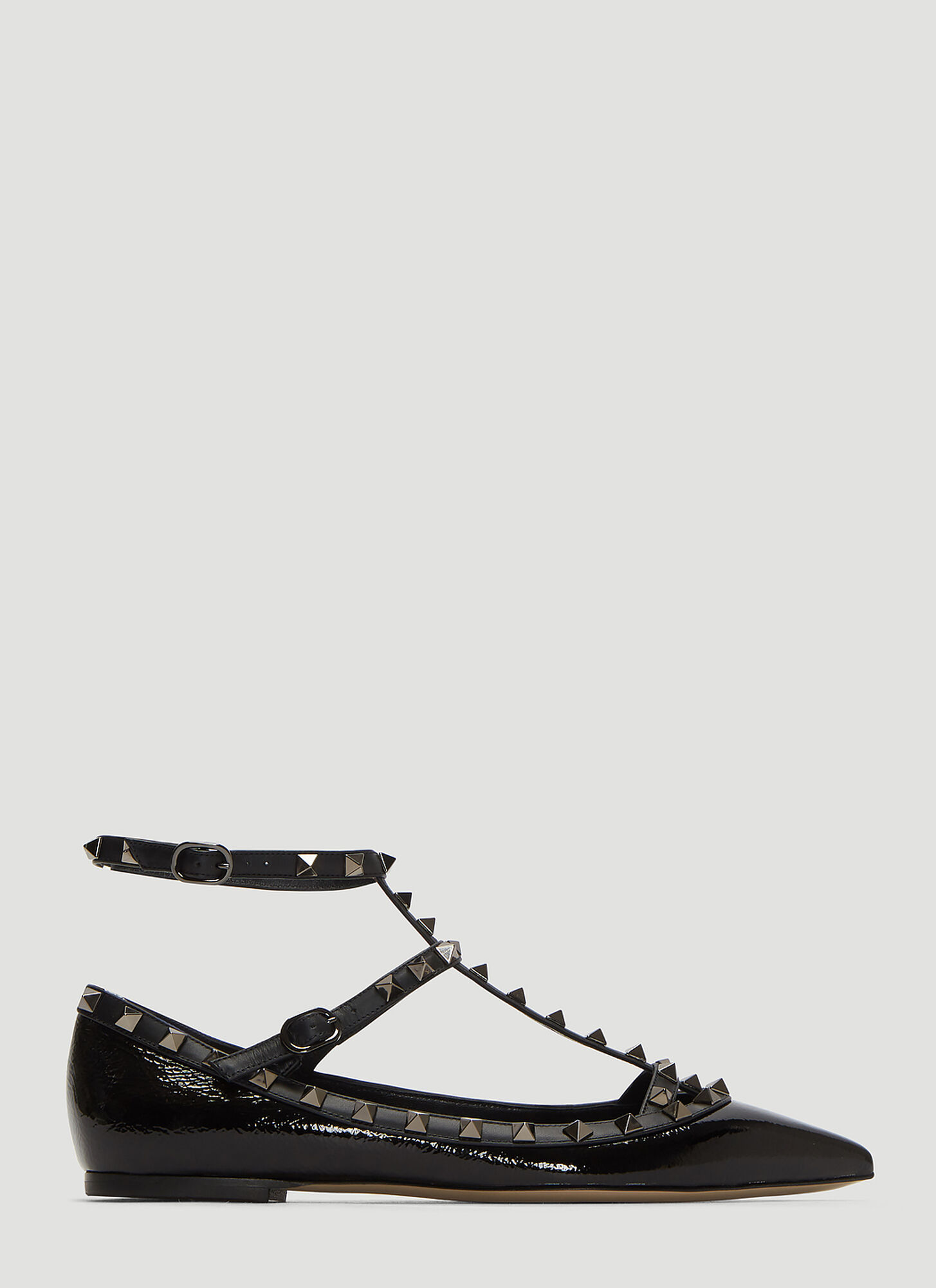 Valentino Rockstud Ballerina Pumps in Black