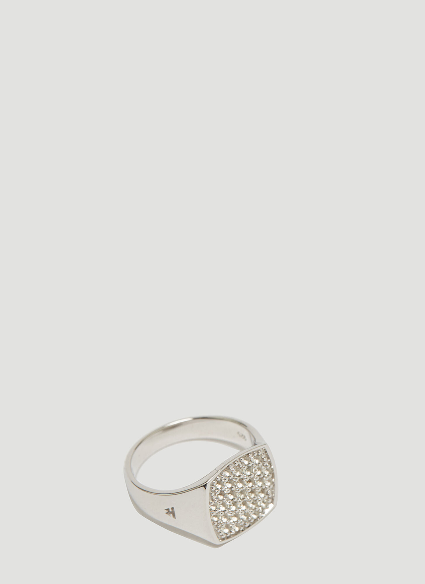 Tom Wood Mini Cushion White Topaz Signet Ring in Silver