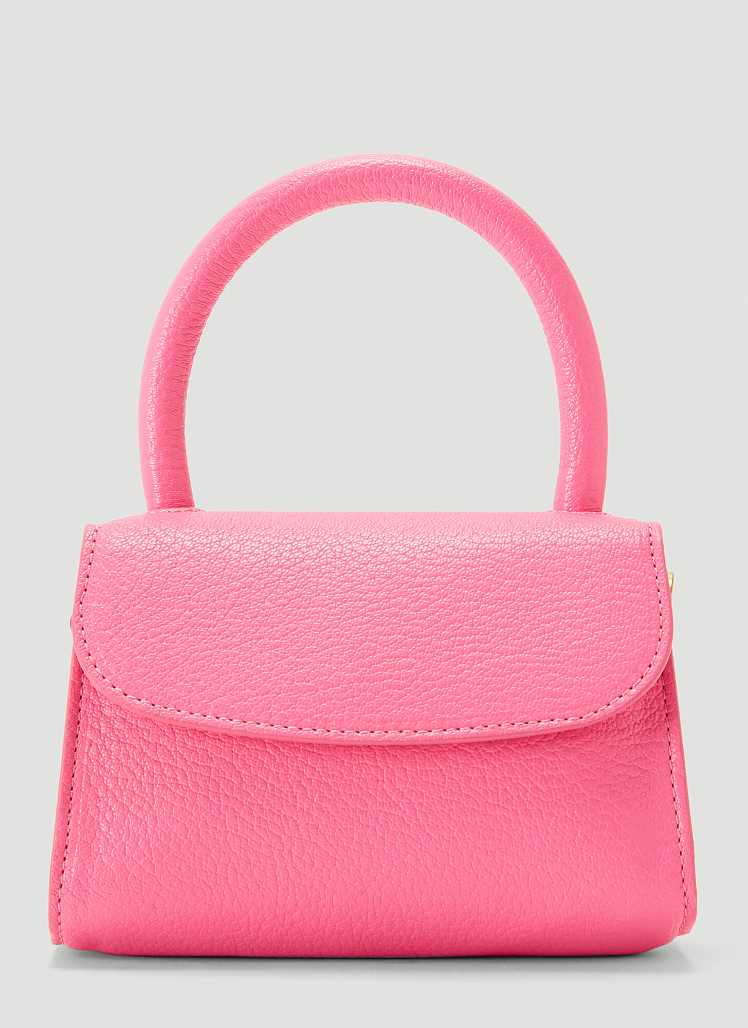 by Far Mini Grained Leather Bag in Pink