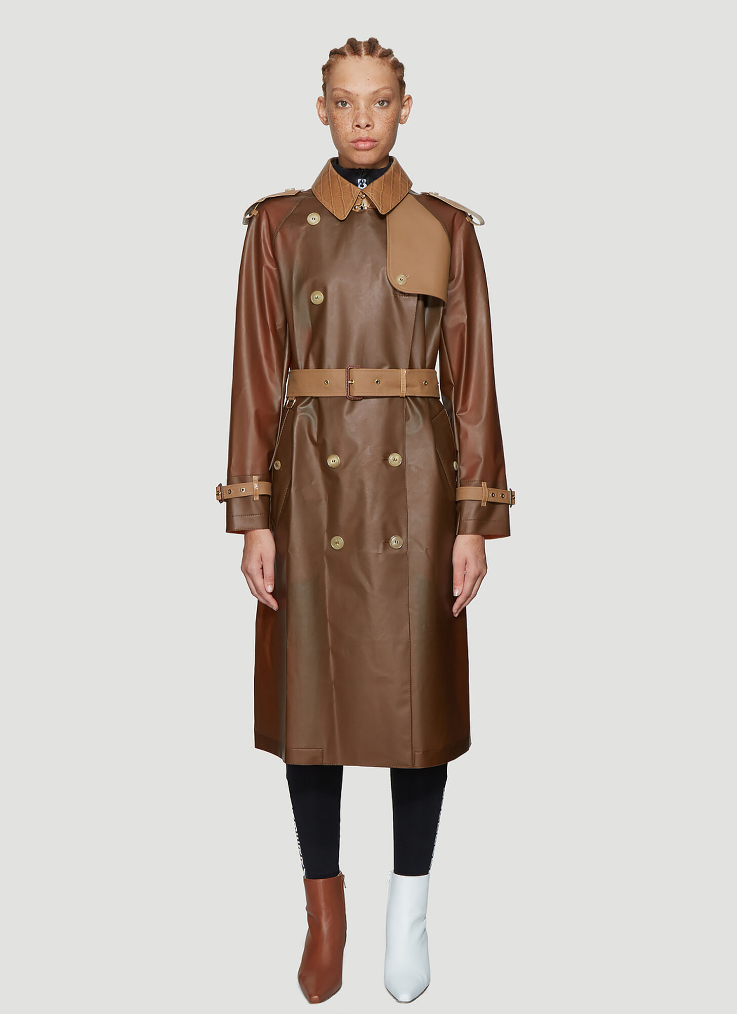 Burberry Contrast Panel Trench Coat in Brown