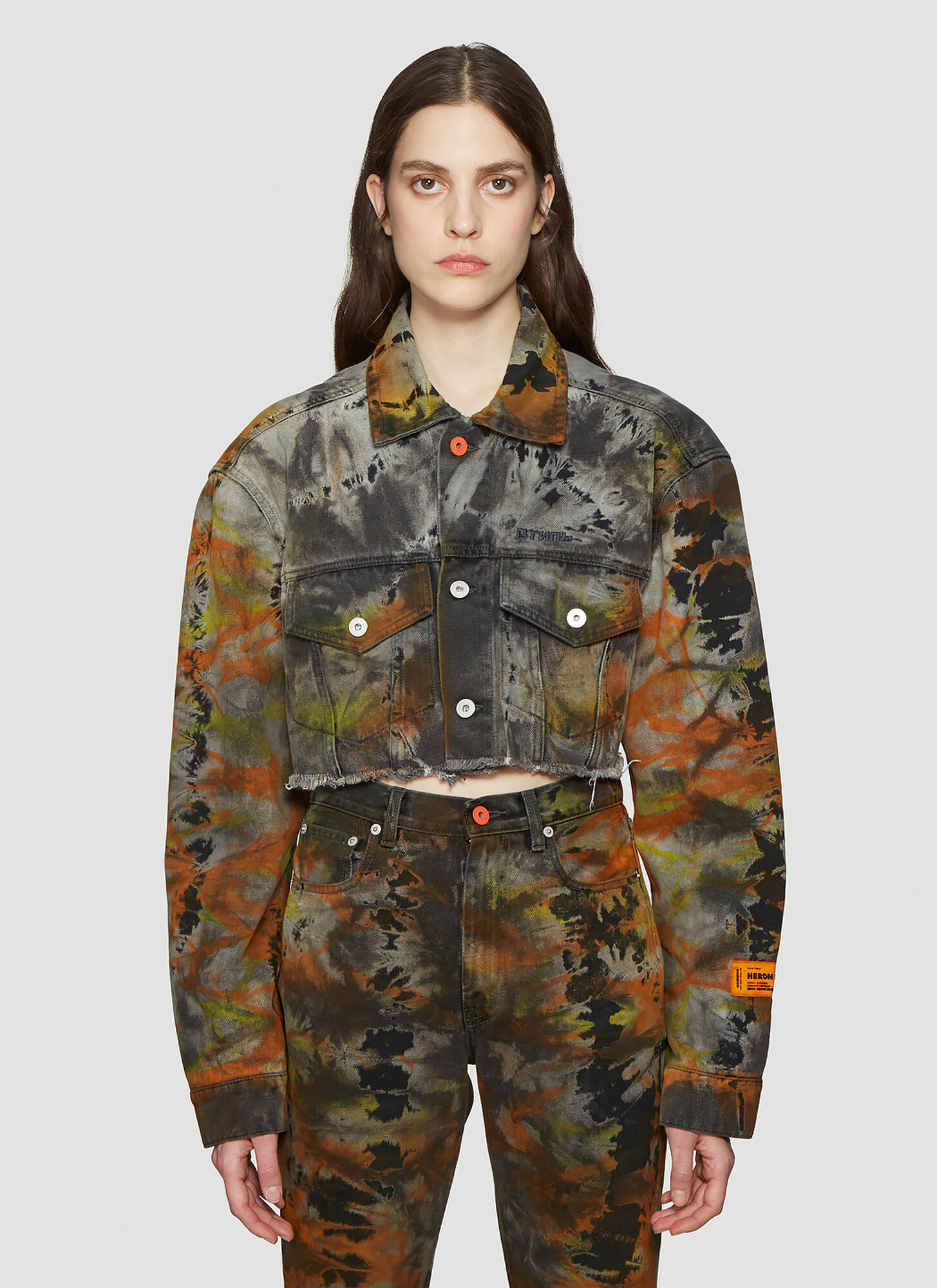 Heron Preston ????? Tie-Dye Cropped Jacket in Grey
