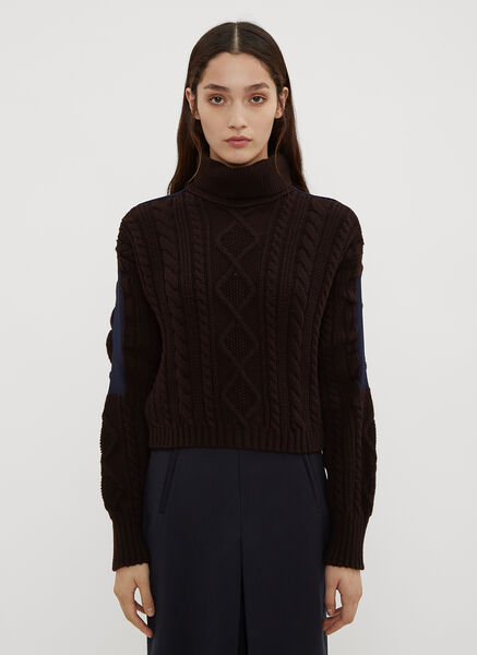 Atlein Cropped Cable Knit Sweater in Brown