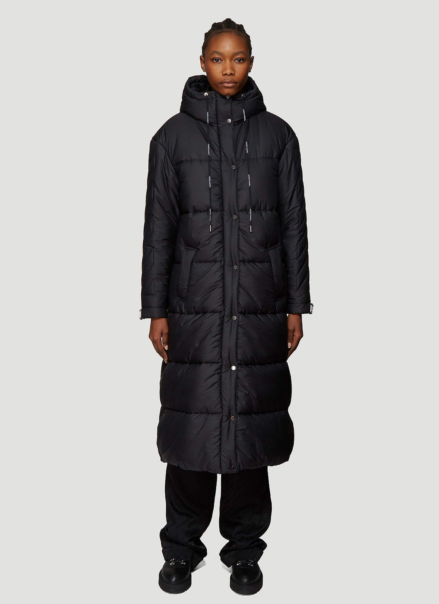 Off-White Padded Drawstring Hooded Coat in Black