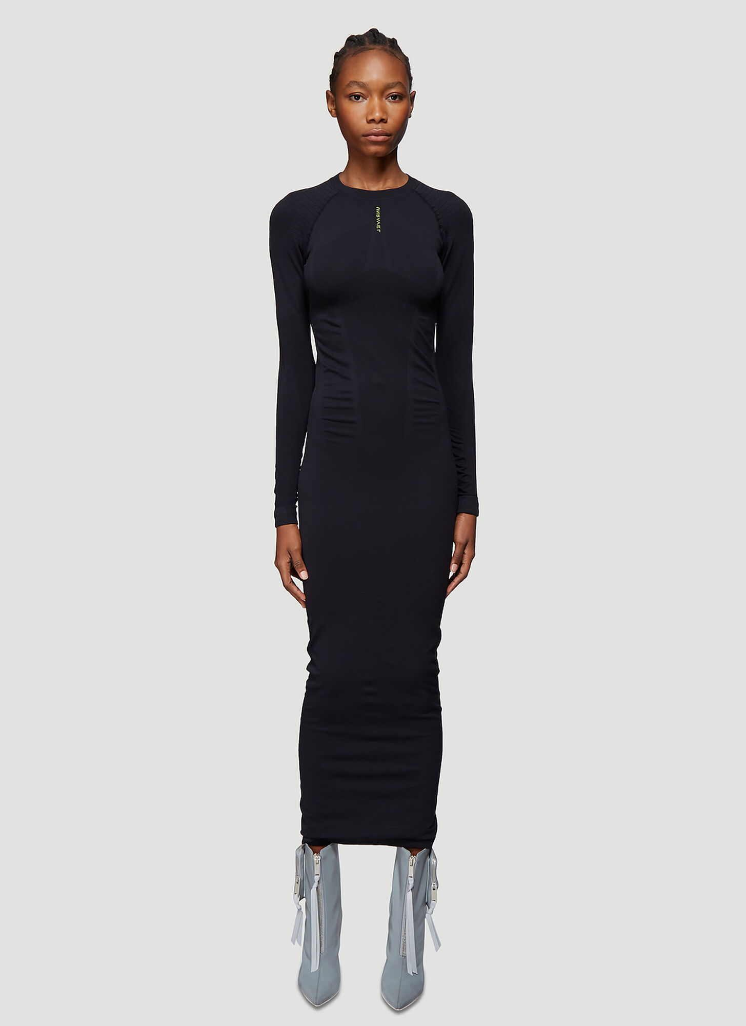 Unravel Project Long Tech Seamless Dress in Black