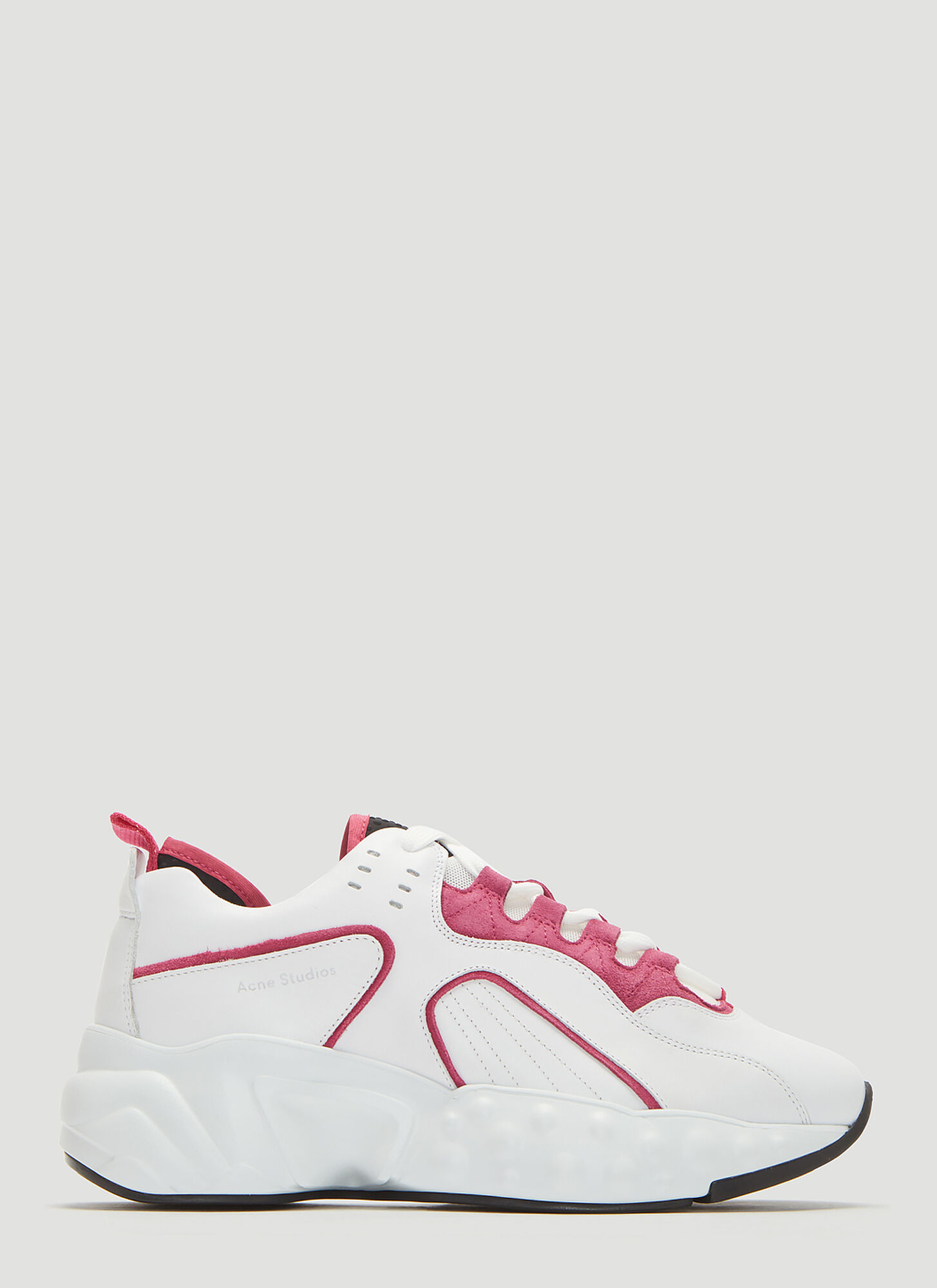 Acne Studios Manhattan Technical Leather Sneakers in White