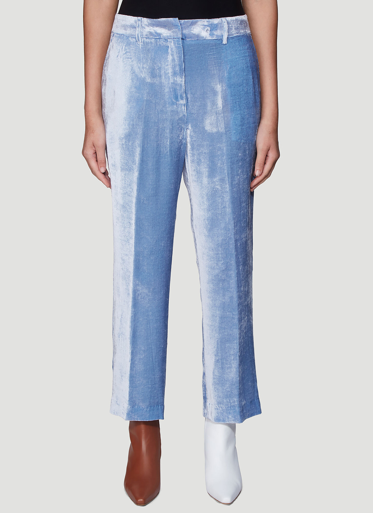 Photo of Sies Marjan Willa Fluid Corduroy Cropped Pants in Blue - Sies Marjan Pants