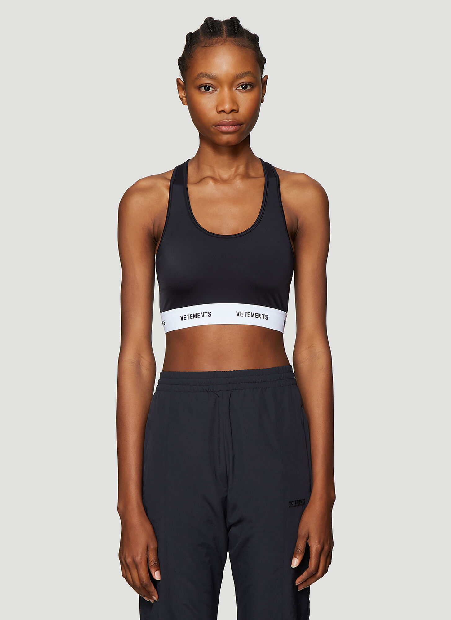 Vetements Scoop Neck Crop Top in Black