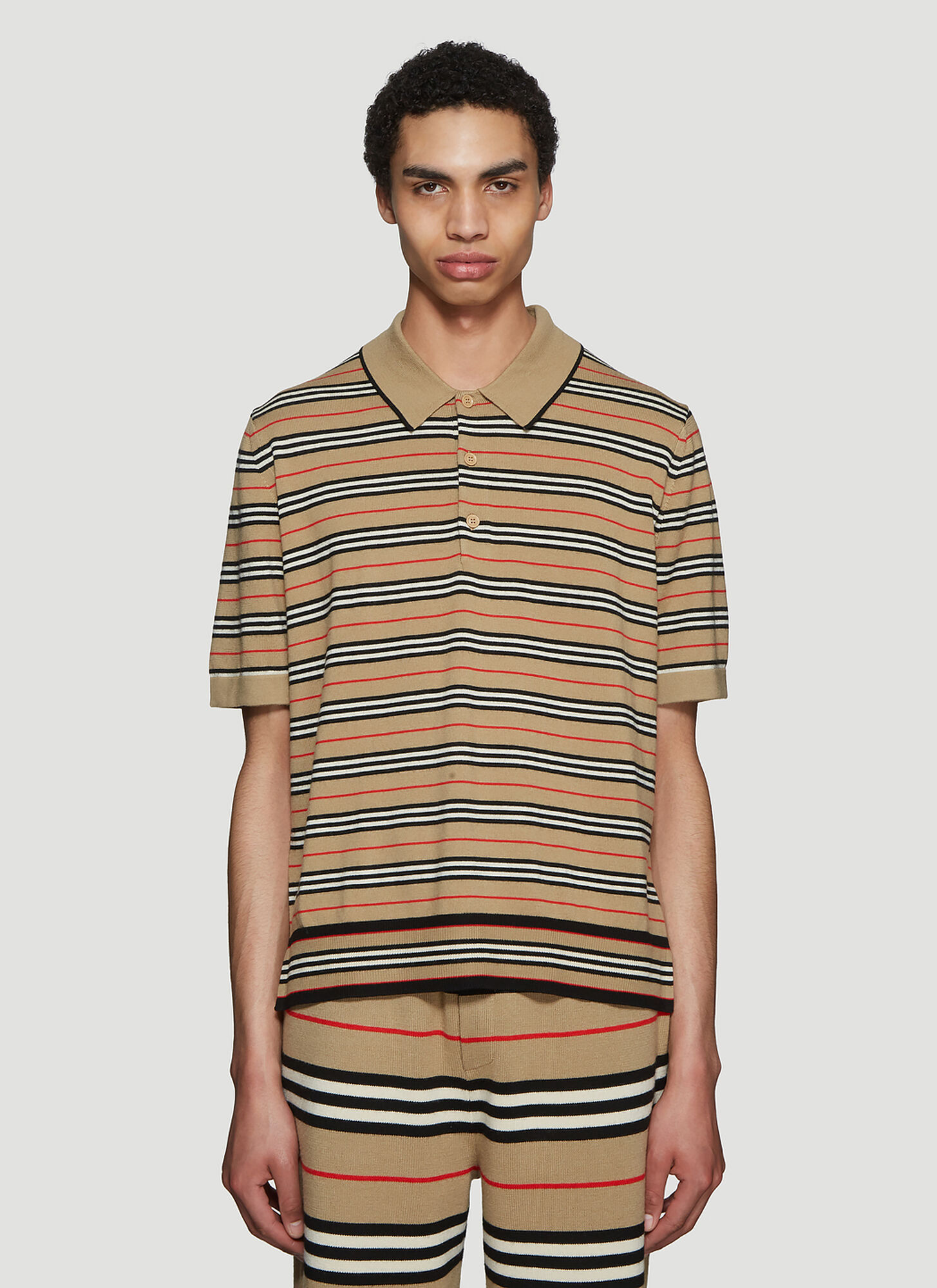 Burberry Striped Polo Shirt in Beige size S