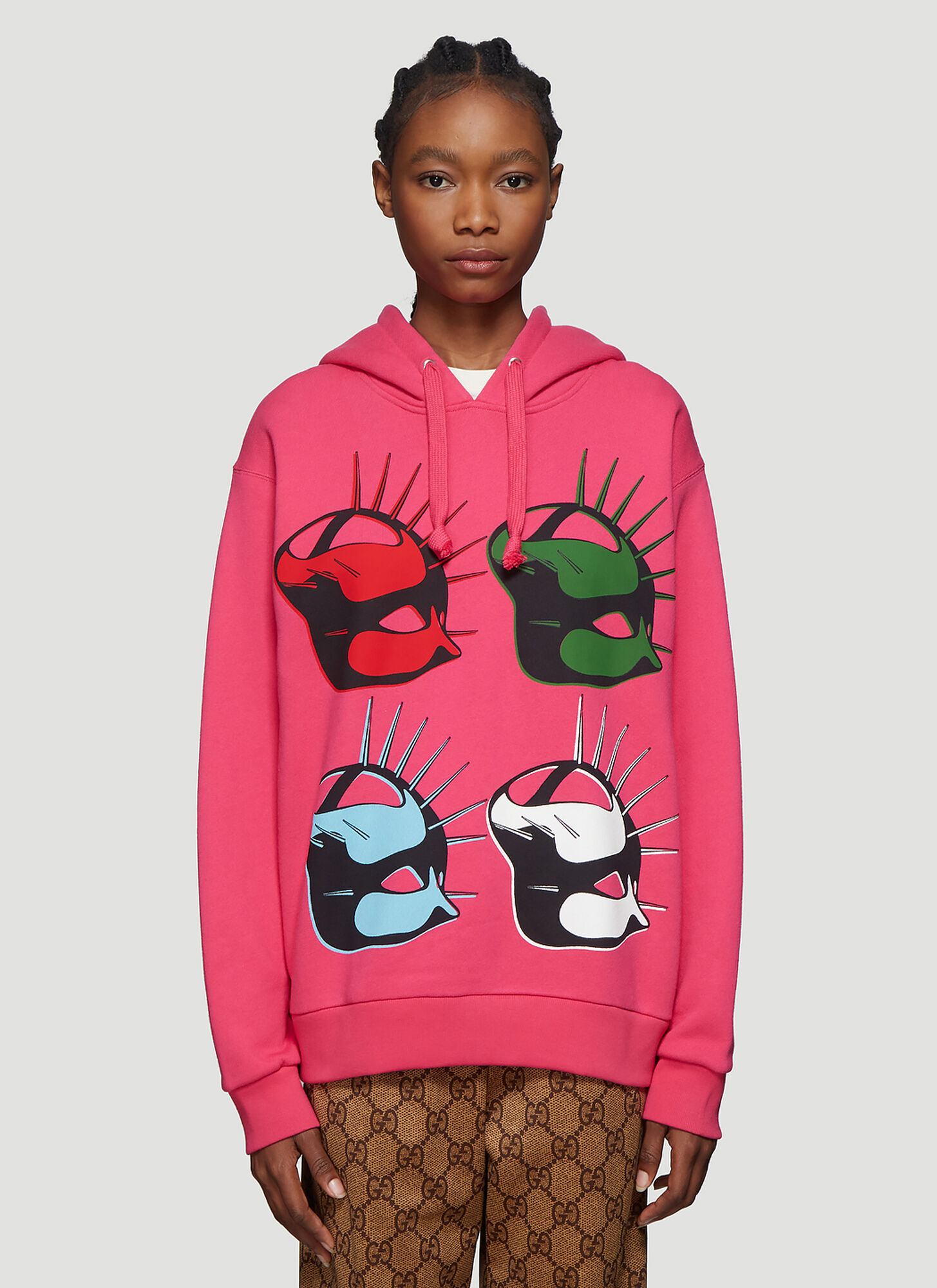 Gucci Mask Hooded Sweatshirt in Pink