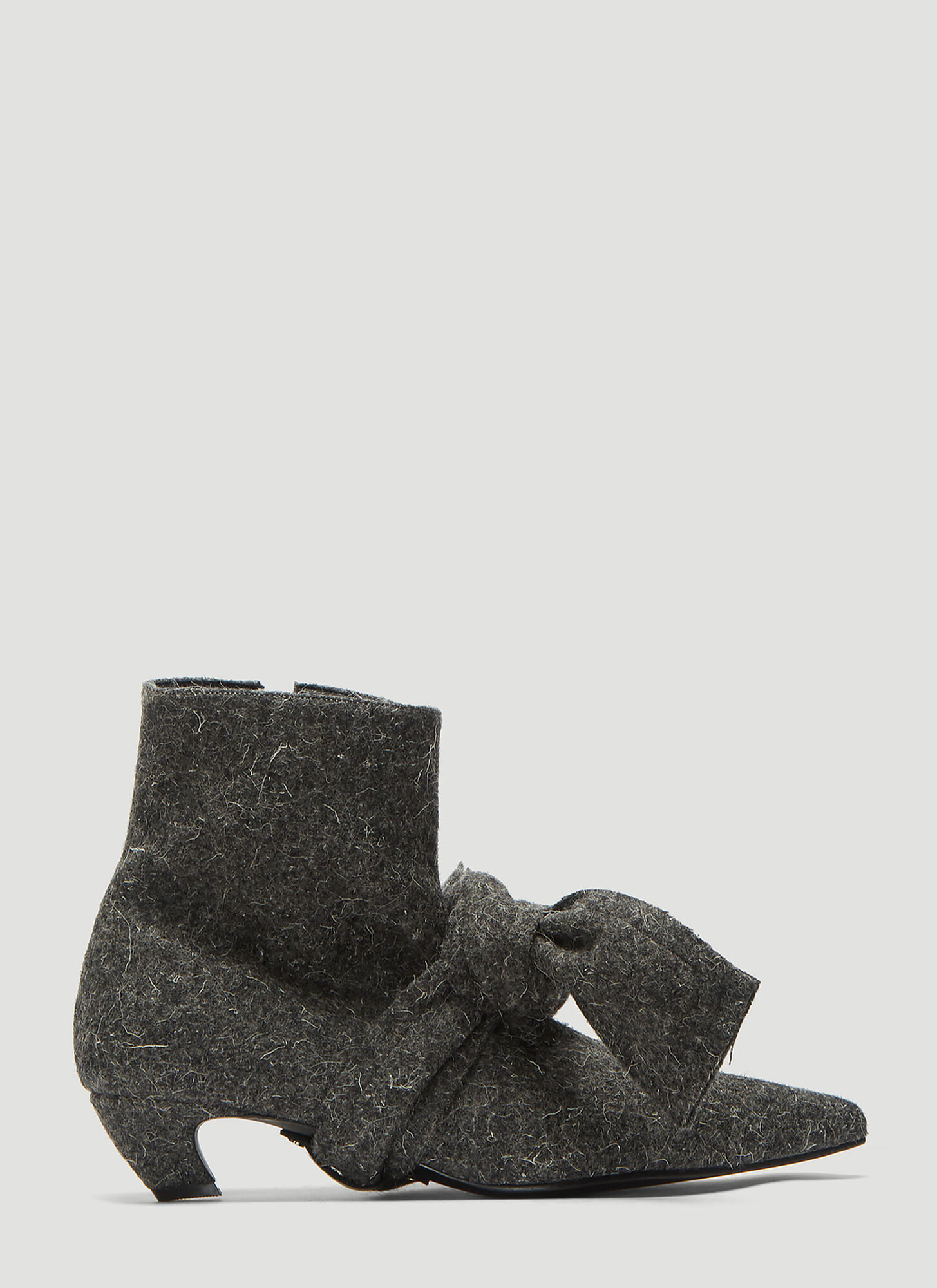 Flat Apartment Hairy Tie-Front Ankle Boots in Grey