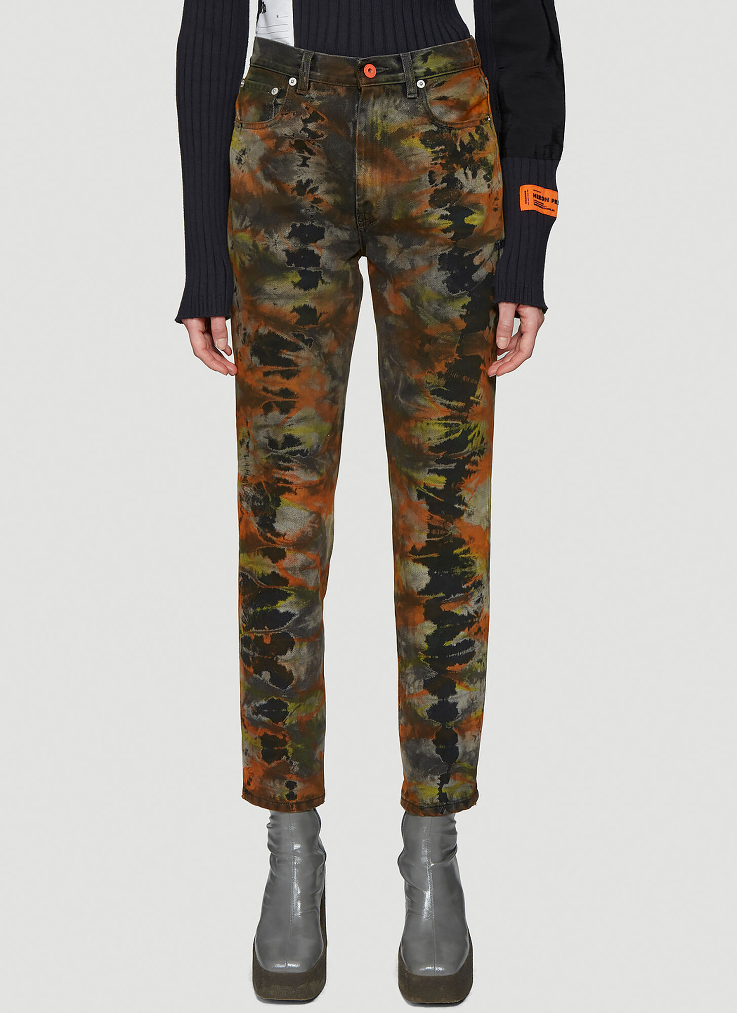 Heron Preston ????? Tie-Dye Tapered Jeans in Grey