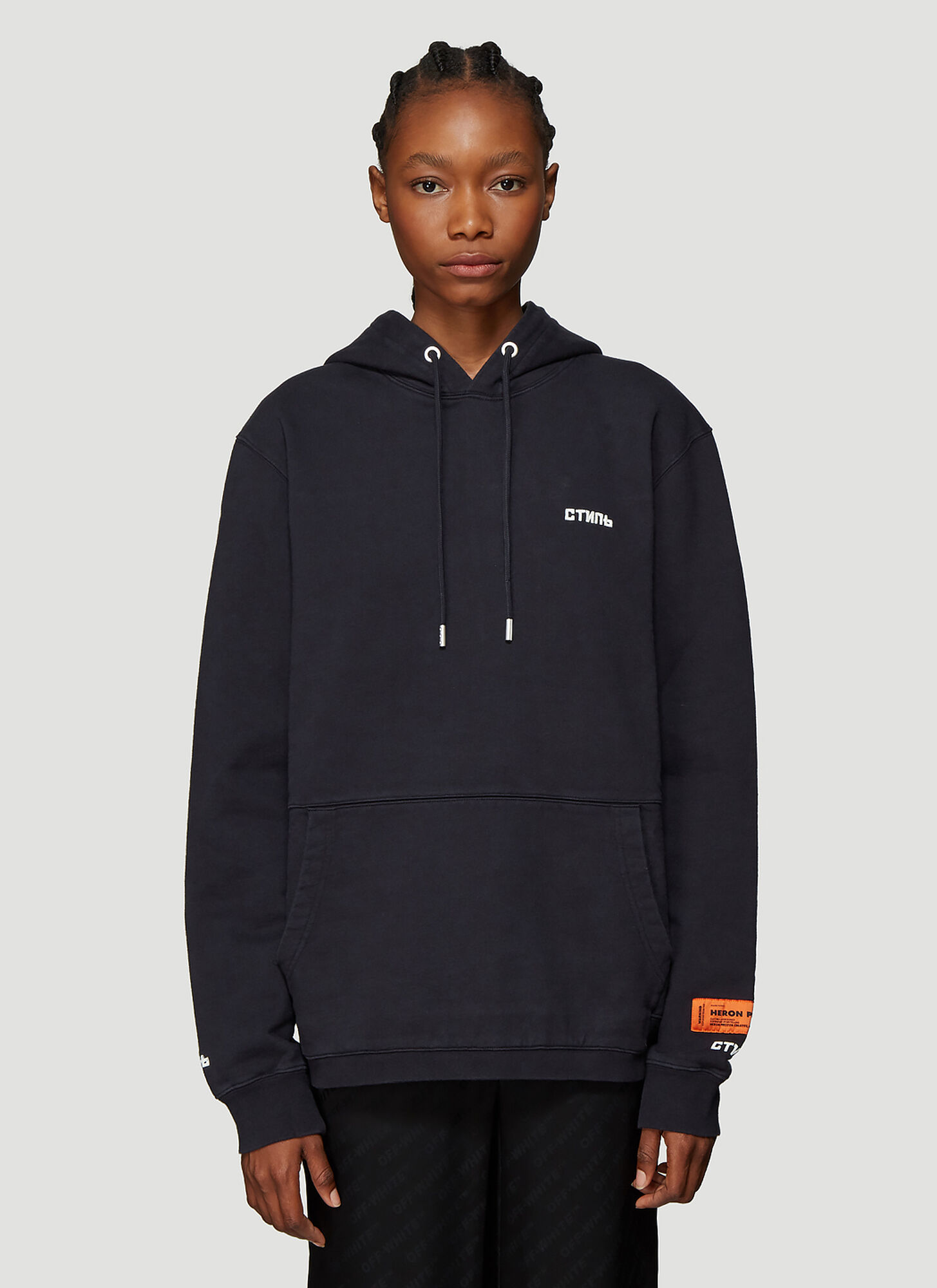 Heron Preston ????? Embroidered Hooded Sweatshirt in Black