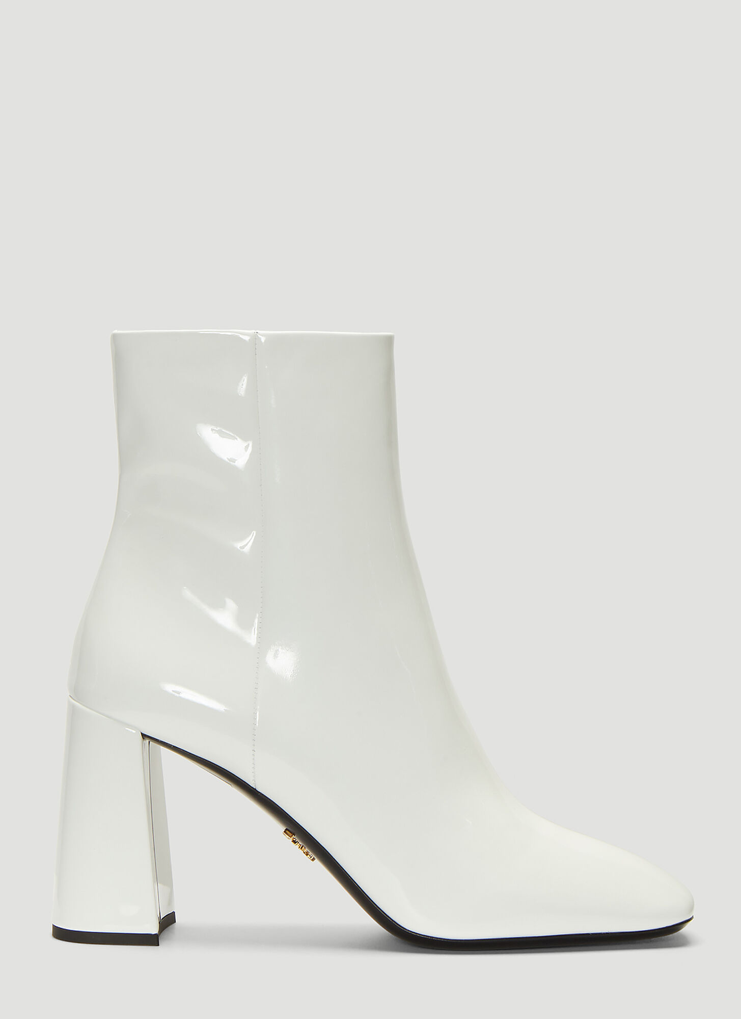 Prada Patent Leather Ankle Boots in White