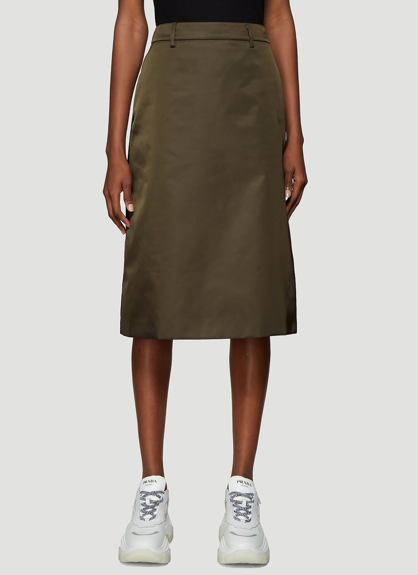 Prada Nylon Gabardine Skirt in Green